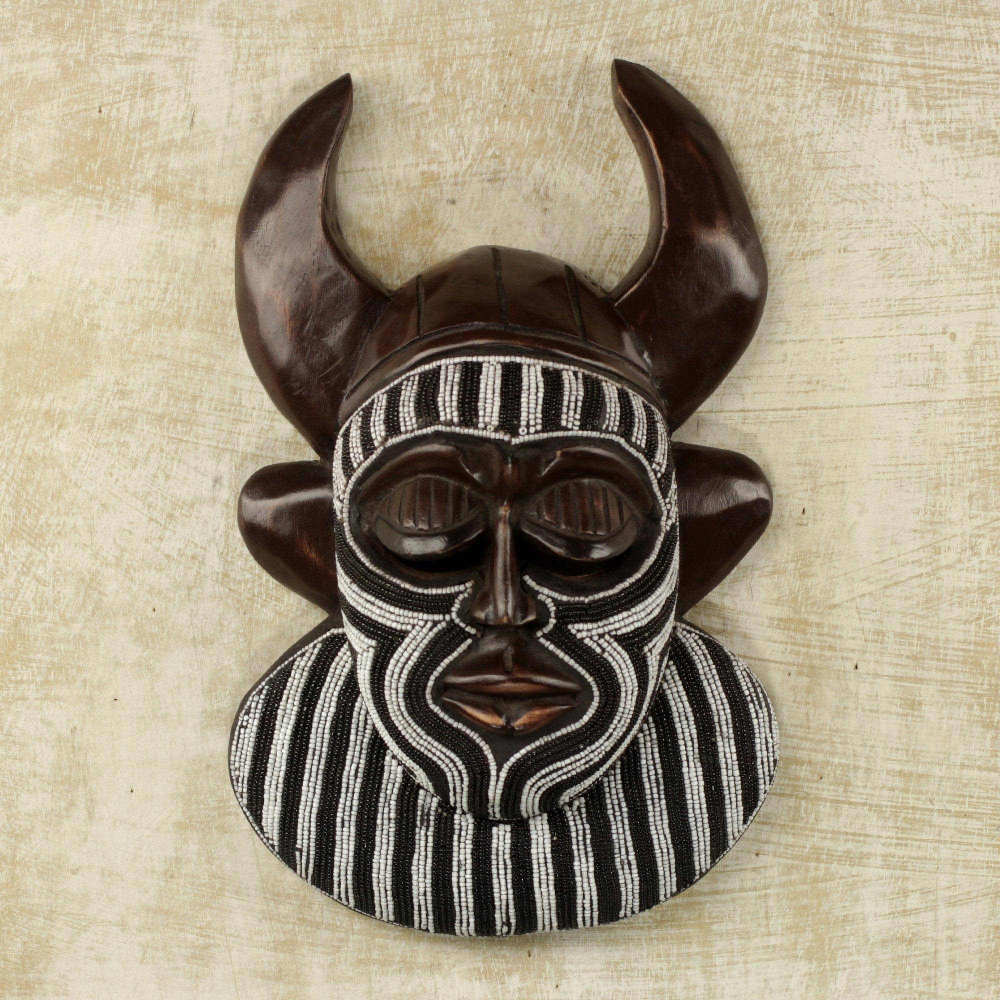 Kafo Horns Black and White Beaded African Wood Horn Wall Mask of Power
