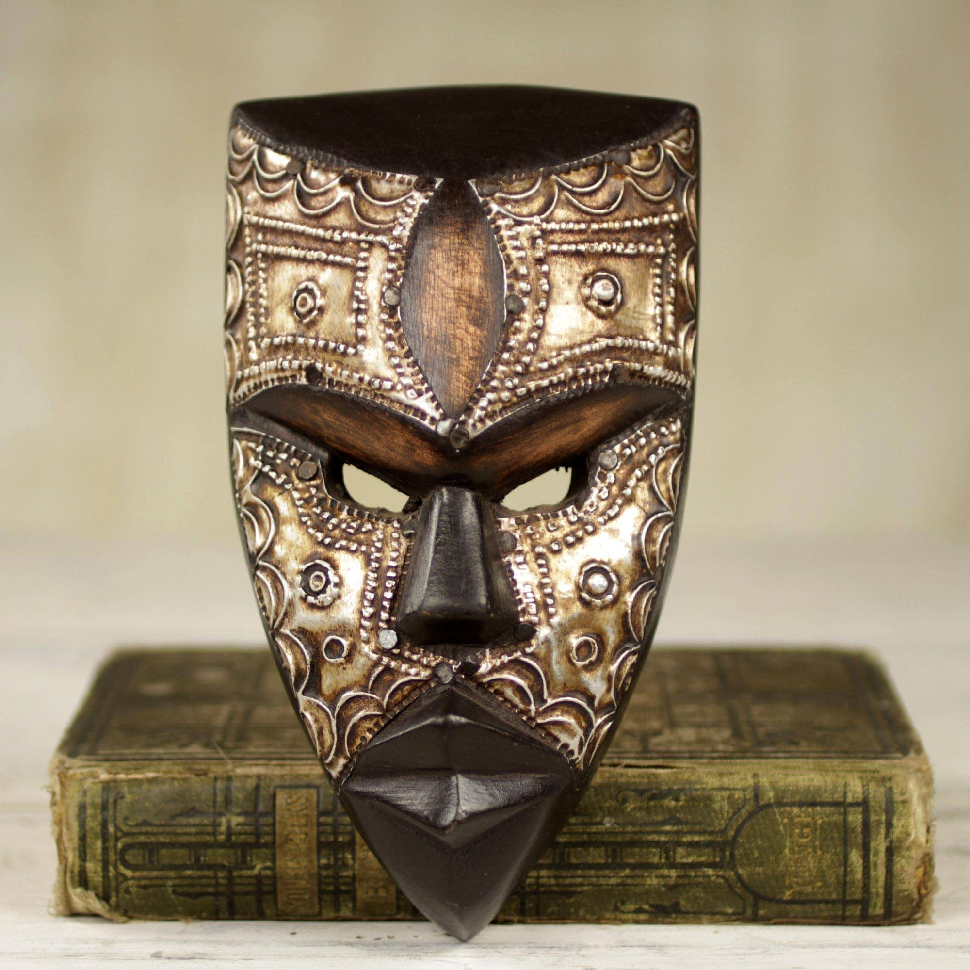 Mbara Hunter Aluminum and Wood African Mask Textured from Ghana