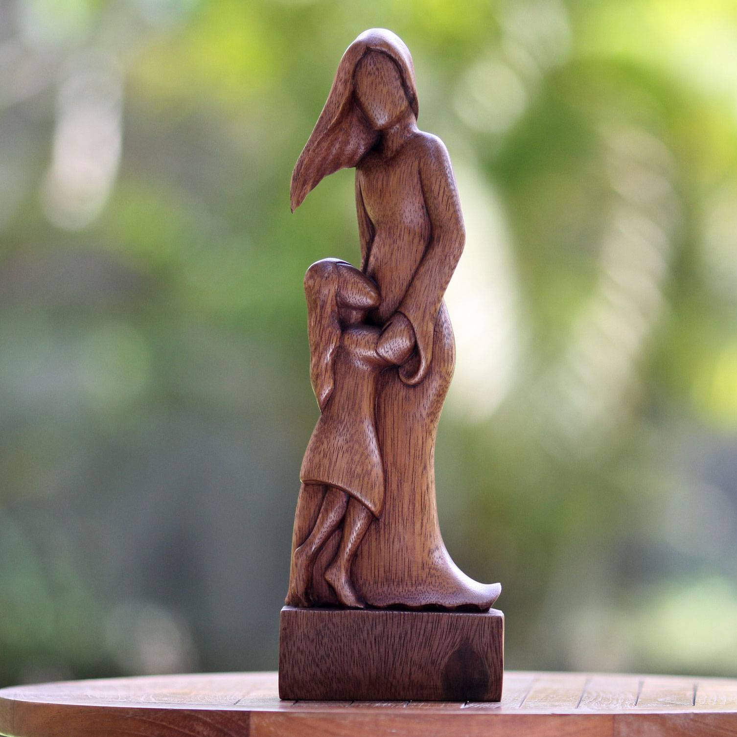 Mother and Daughter Artisan Crafted Wood Family Sculpture Gift Guide