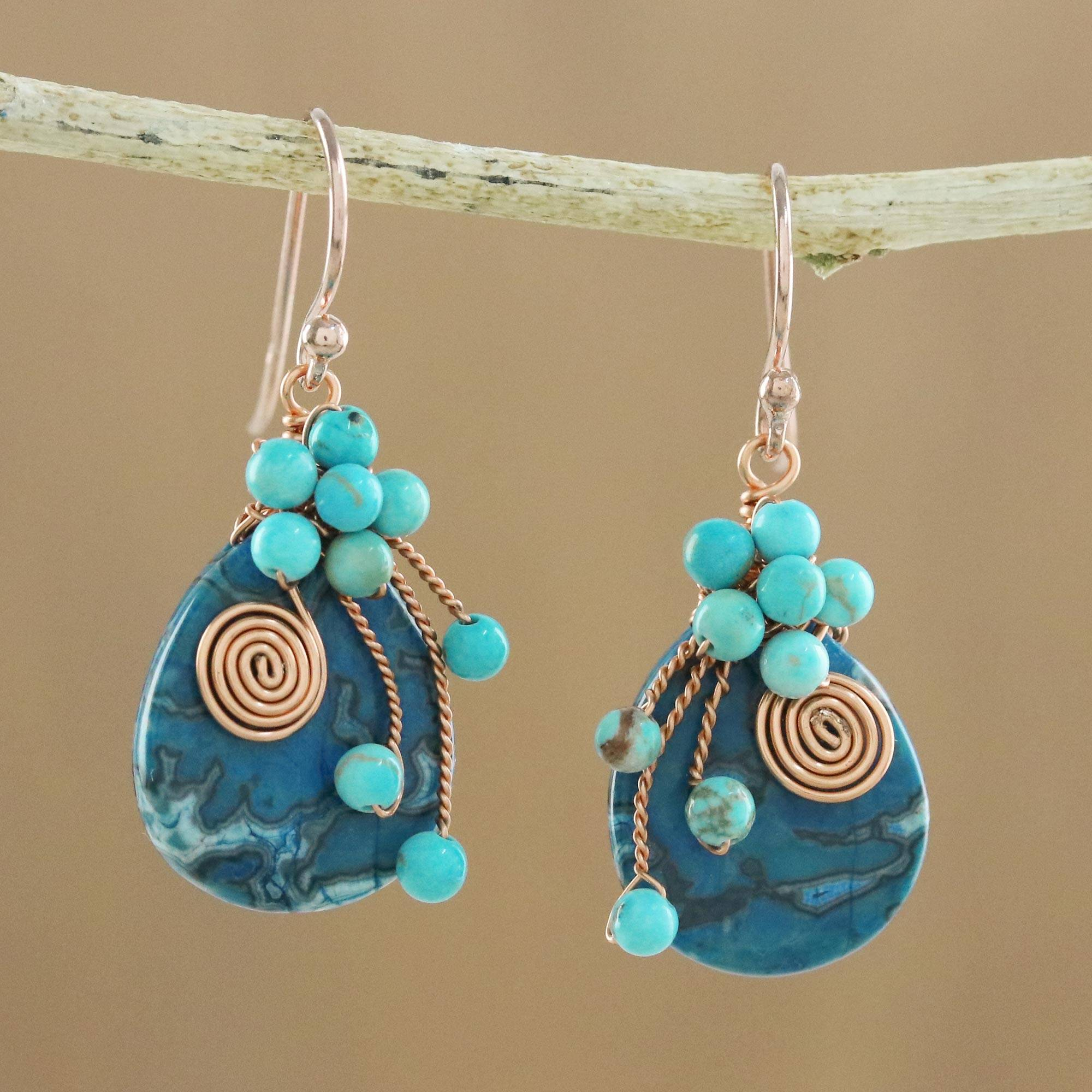 Earrings Guide Ocean Dance Agate and Calcite Beaded Dangle Earrings from Thailand