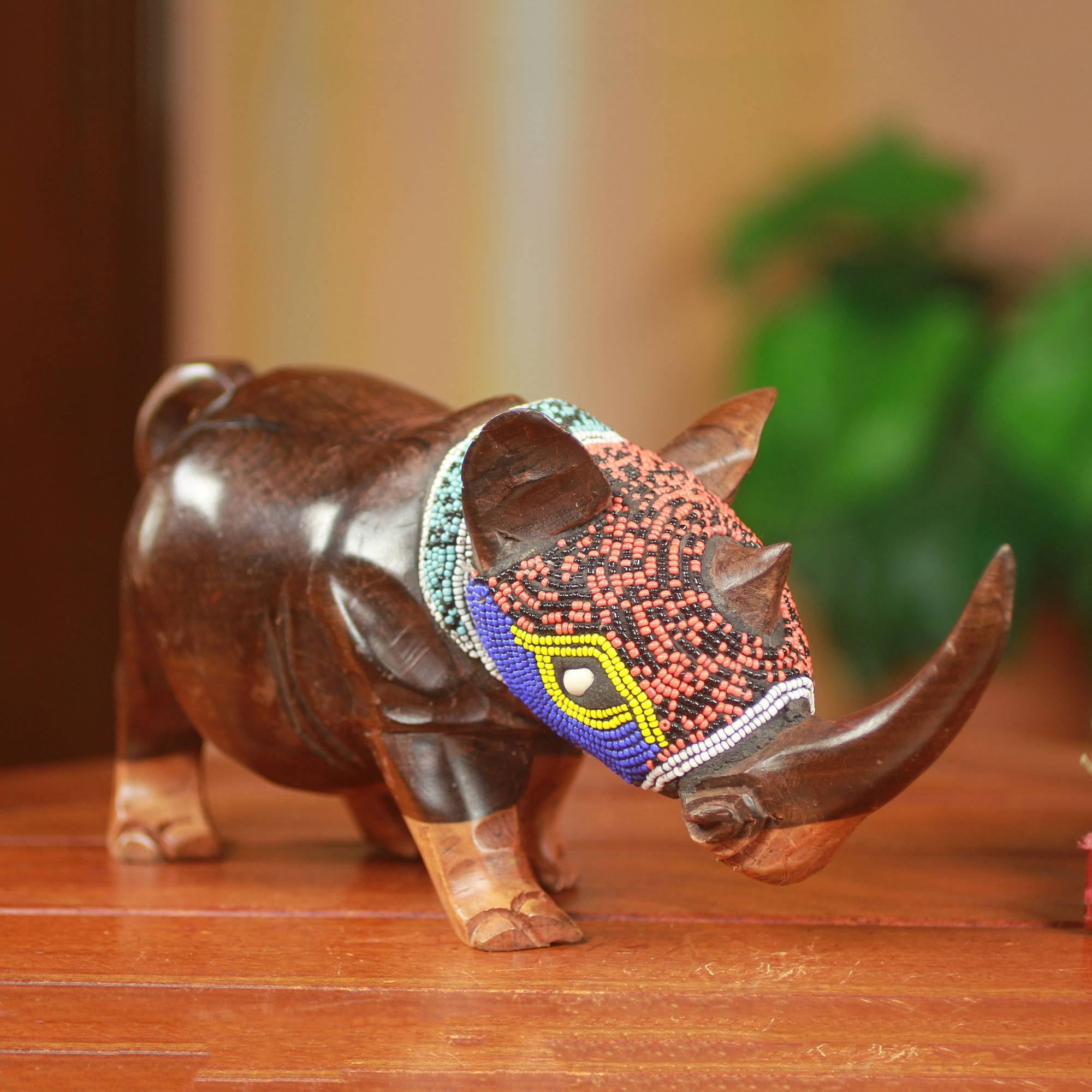 Proud Rhino Unique Beaded Wood Rhinoceros Carving