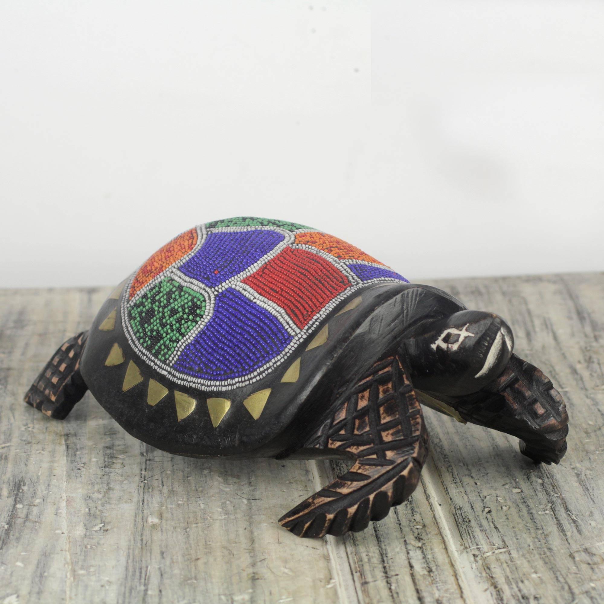 Queen Turtle Colorful Beaded Turtle Sculpture Handmade in Ghana