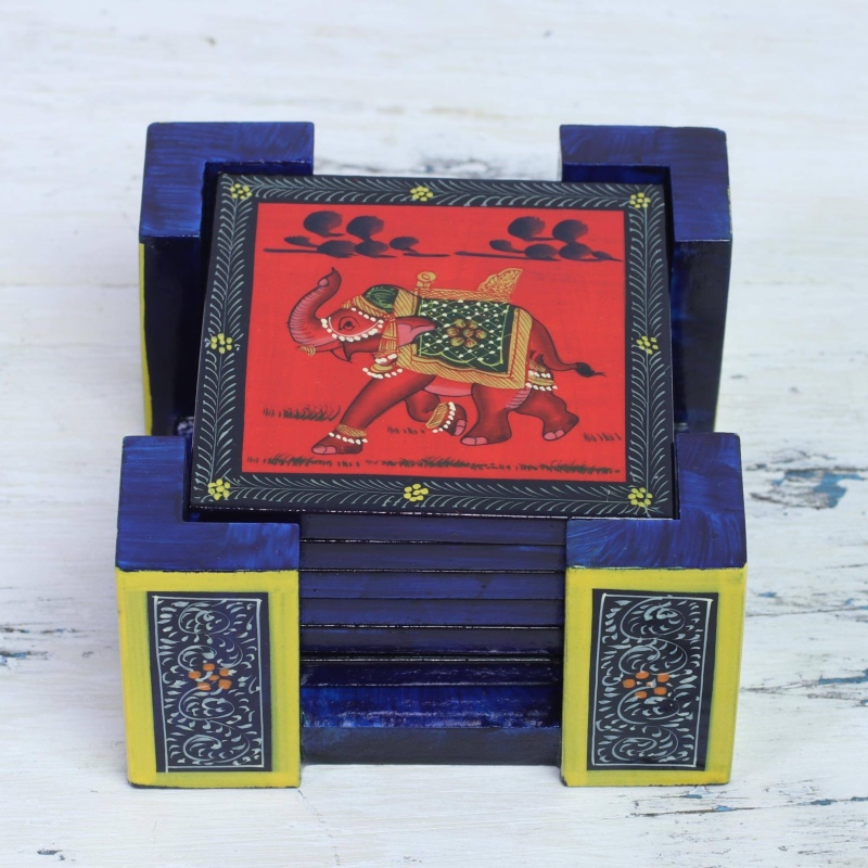 Six Hand-Painted Wood Elephant Coasters in Red from India stocking your bar