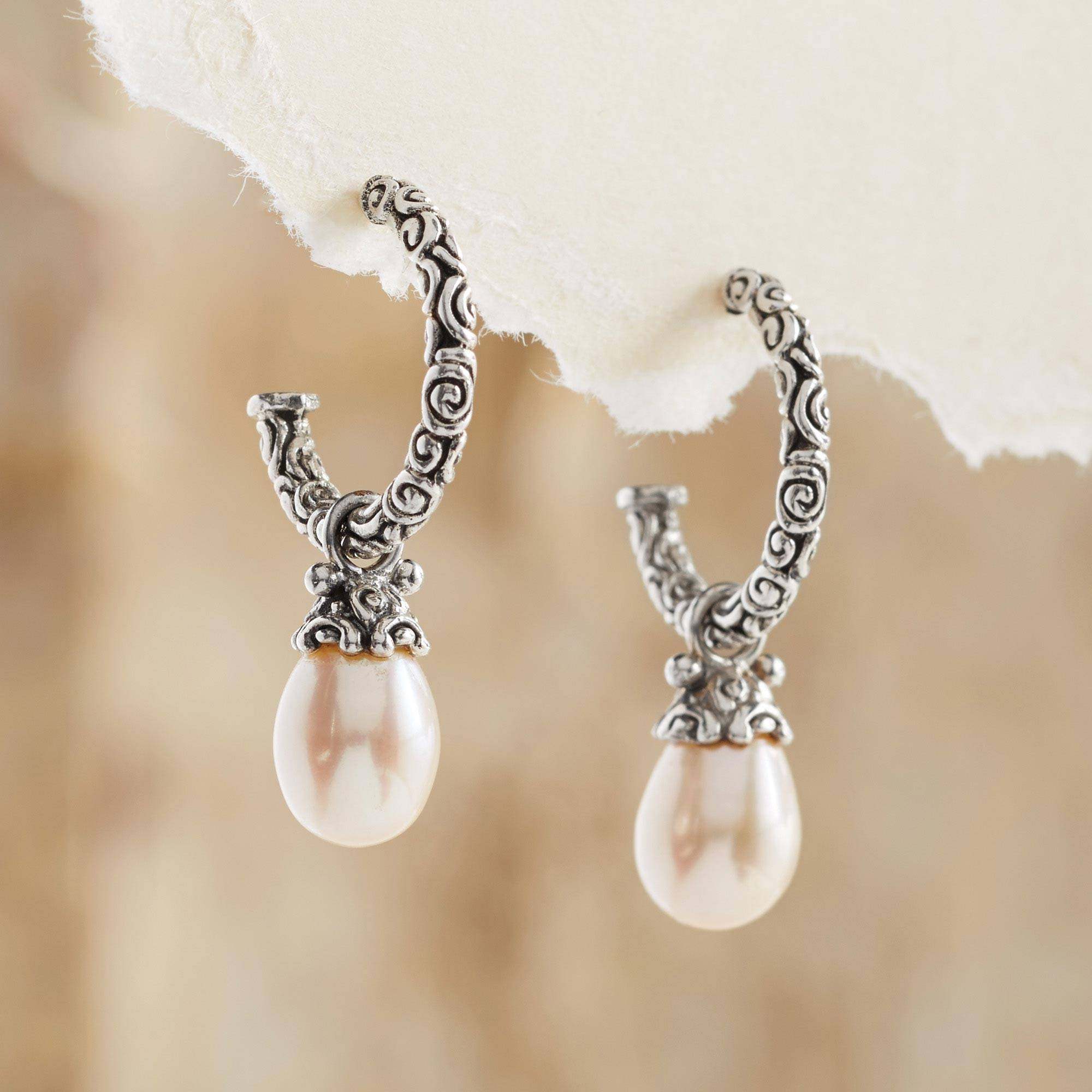 Earrings Guide 'Blushing Rose' Sterling Silver Cultured Pearl Half Hoop Earrings