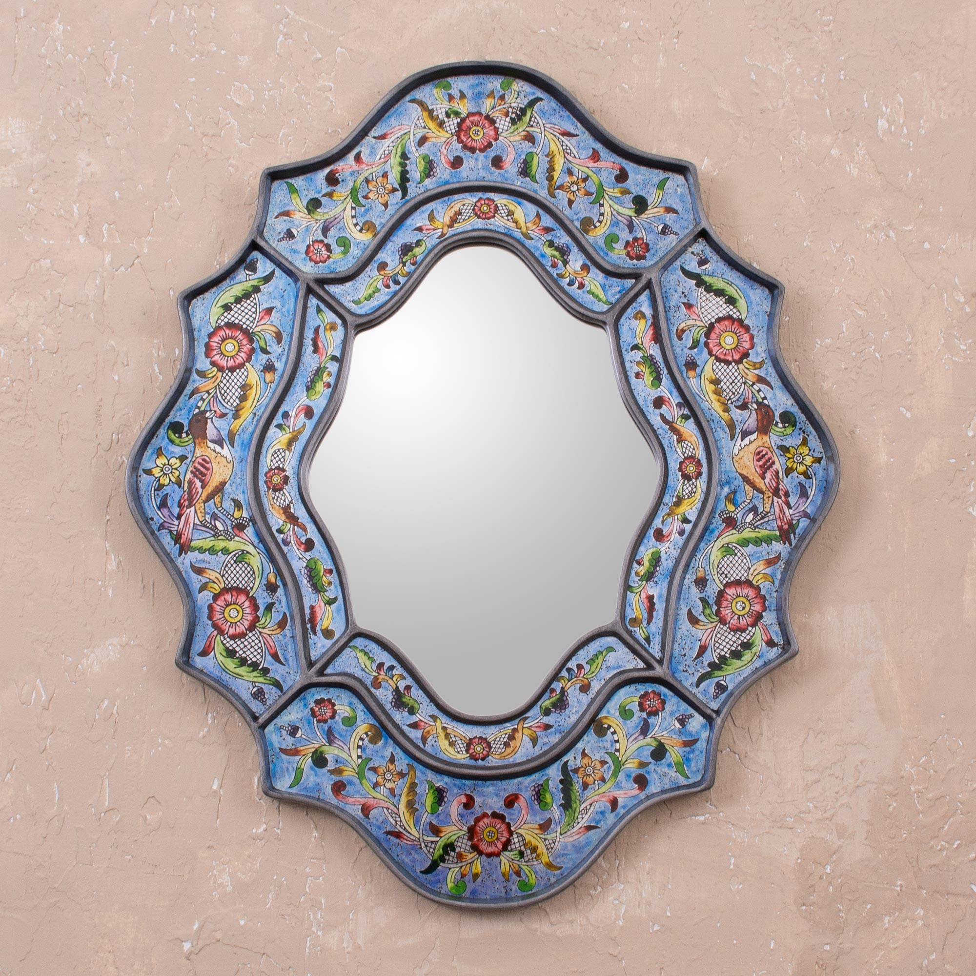 Blue Sky Reverse Hand Painted Mirror from Peru Wall Art In Your Home