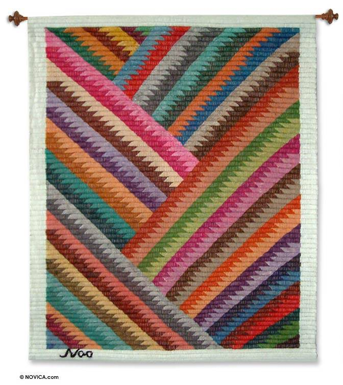 Zigzag Rainbow Wool tapestry Wall Art In Your Home