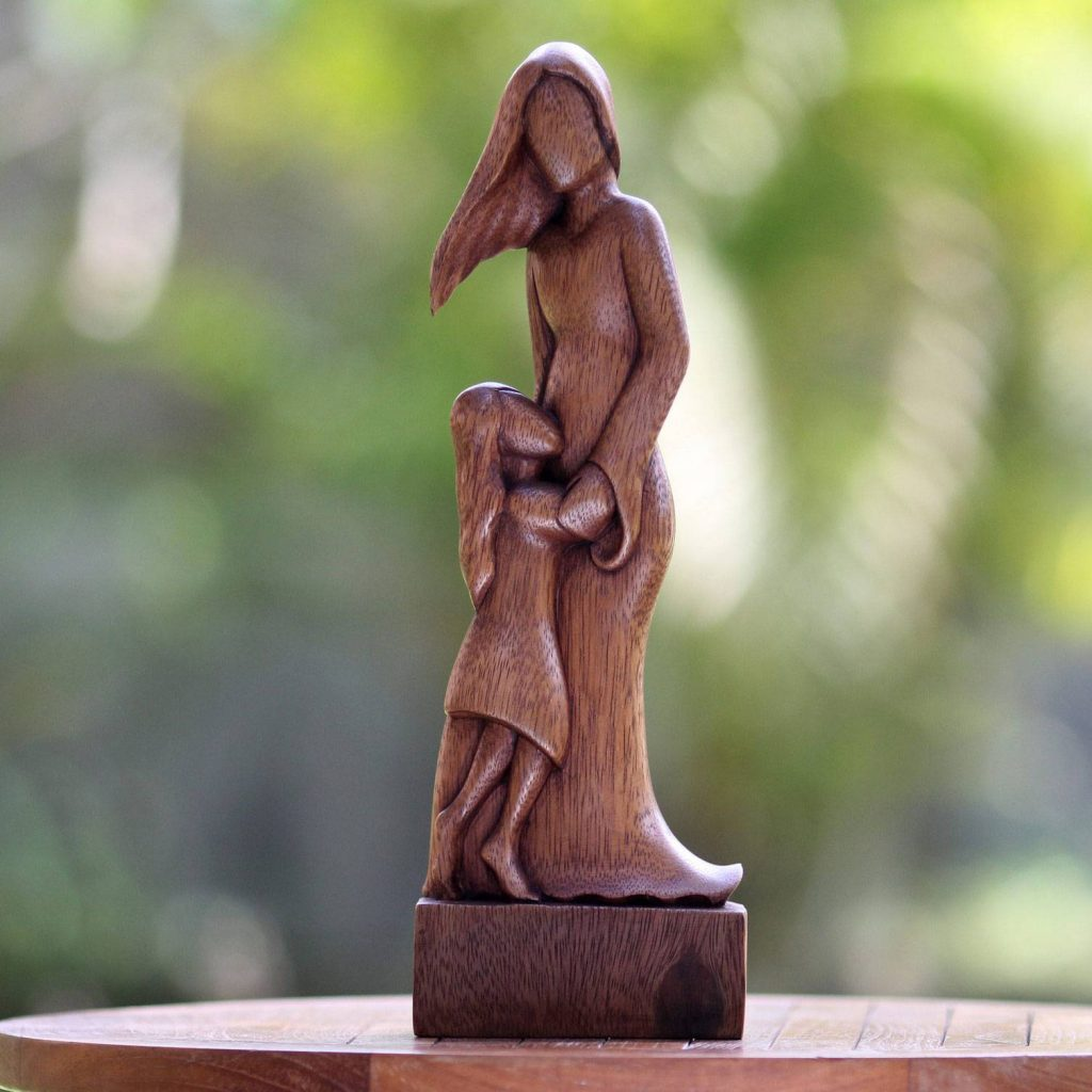 Mother and Daughter Artisan Crafted Wood Family Sculpture Festive Thanksgiving Home Decor