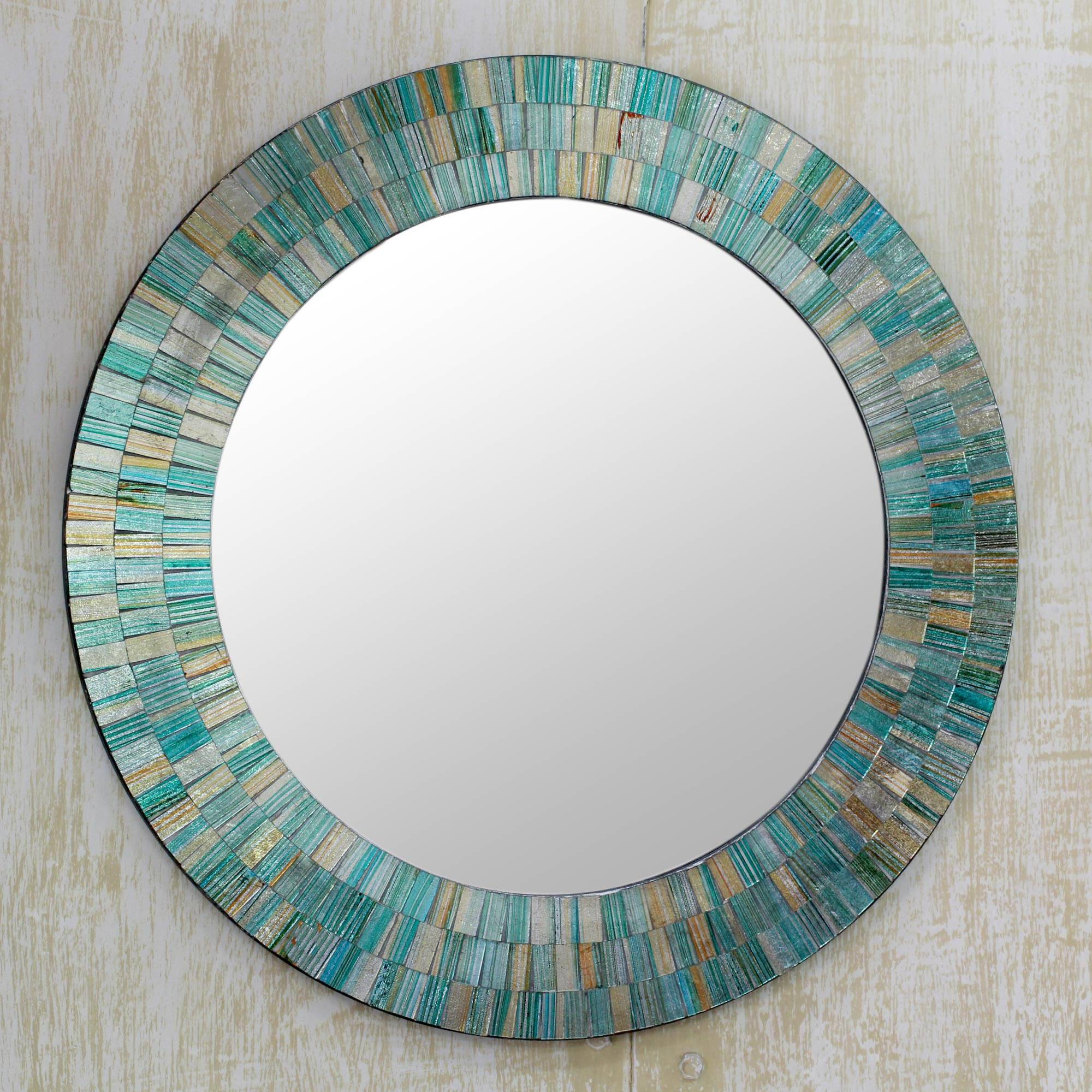 Aqua Fantasy Hand Made Mosaic Wood Glass Mirror Wall Art In Your Home