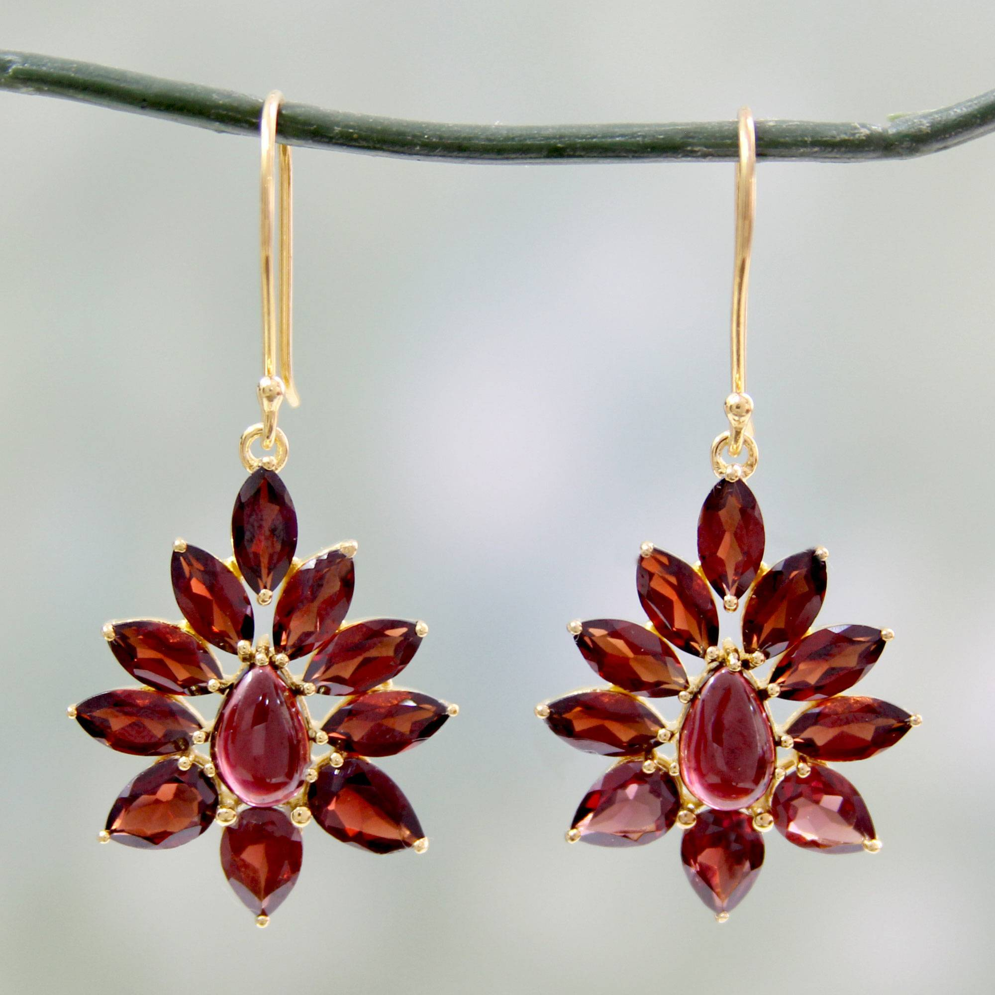 Earrings Guide 'Claret Sunburst' Hand Crafted 18k Gold Plated Earrings with Garnets