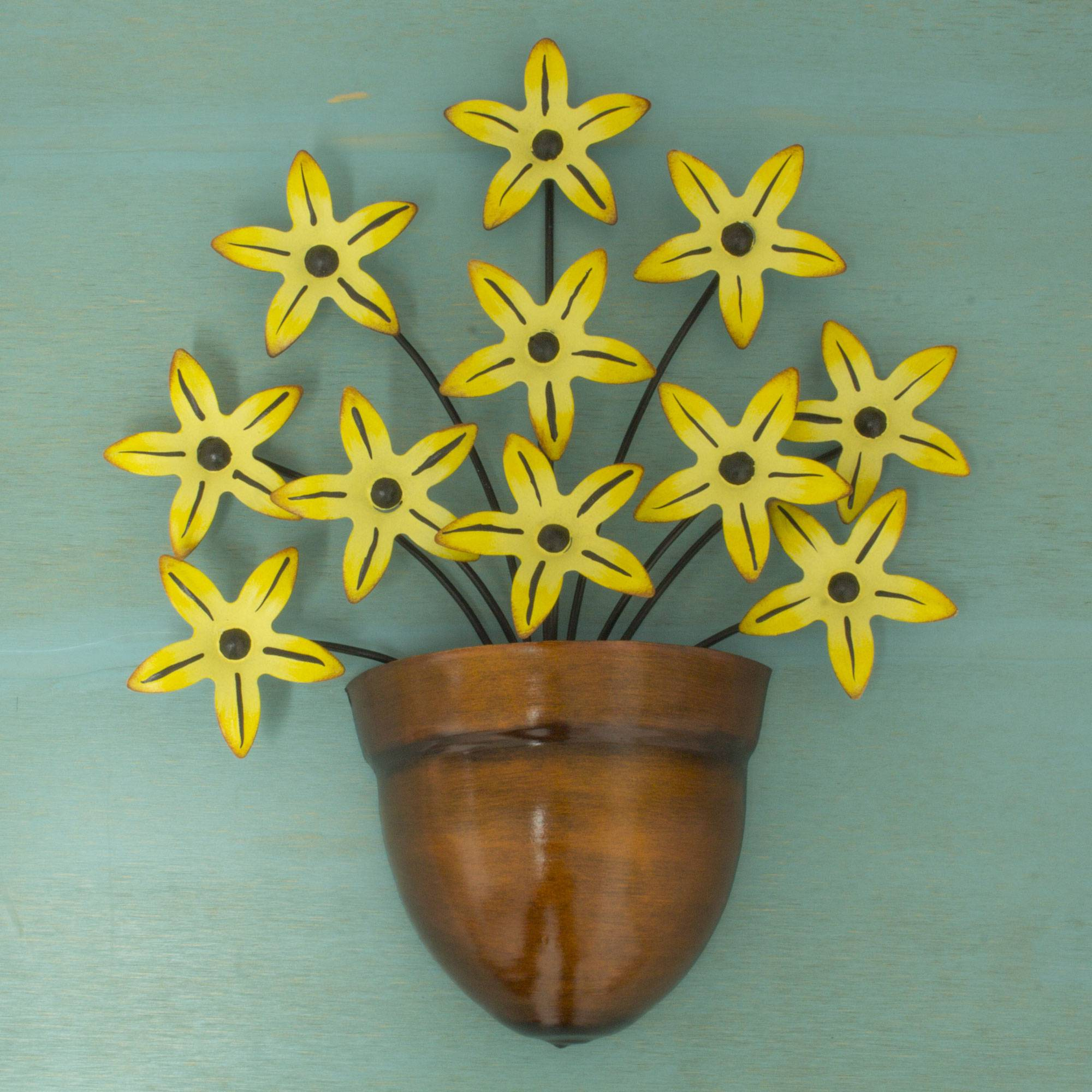 Black-Eyed Susan Yellow Flower Iron Wall Sculpture Crafted by Hand Wall Art In Your Home