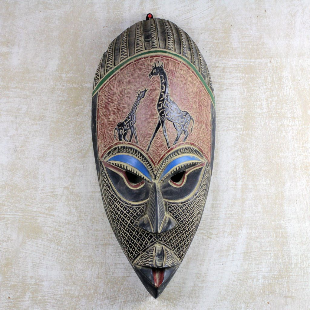 Giving Thanks Hand Carved Rubberwood African Mask Wall Art from Ghana Festive Thanksgiving Decor