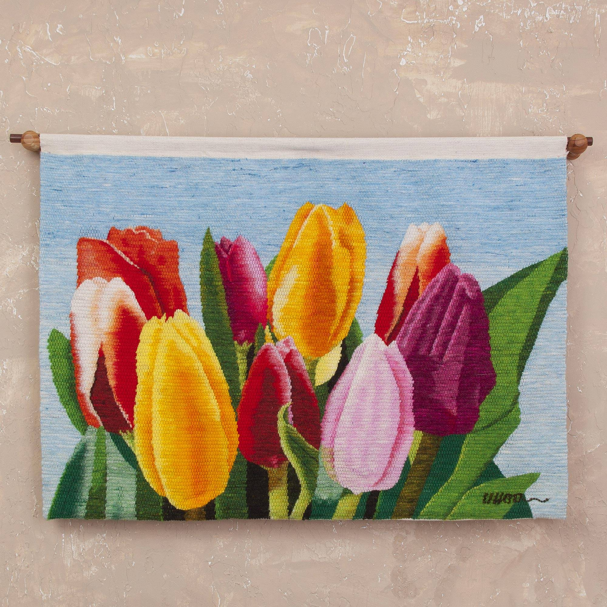 Enchanted Tulips 100% Wool Multi-Color Tulip Tapestry Wall Art In Your Home