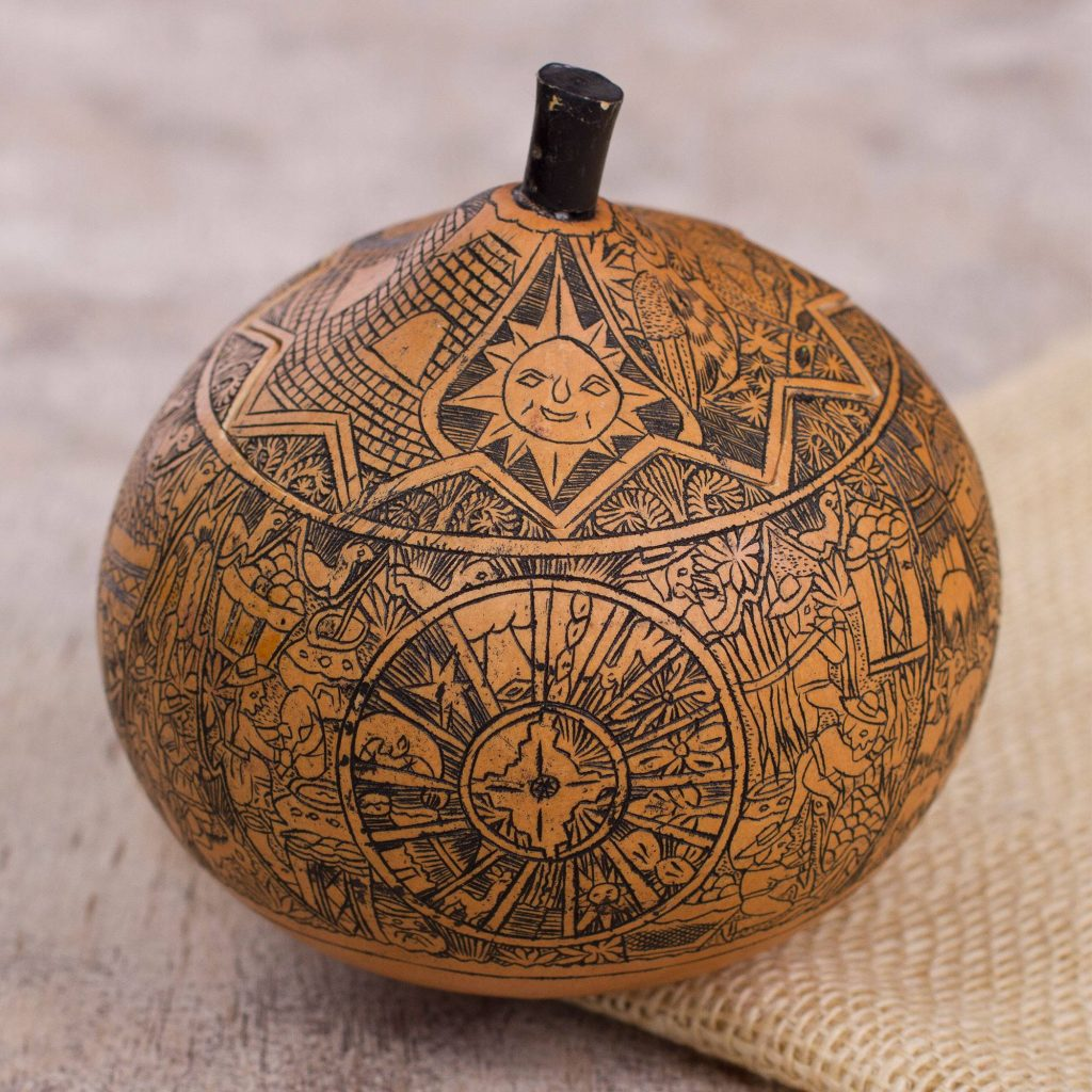 Andean Trilogy Hand Carved Andean Trilogy Sun and Moon Gourd Decorative Box Festive Thanksgiving Home Decor