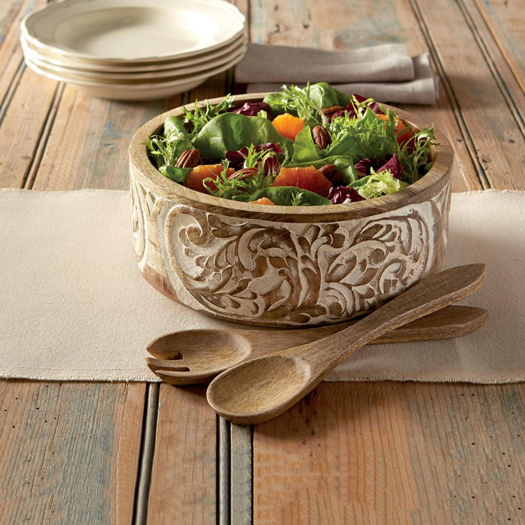 Anguri Delight Hand Carved Mango Wood Salad Bowl and Servers Festive Thanksgiving Decor