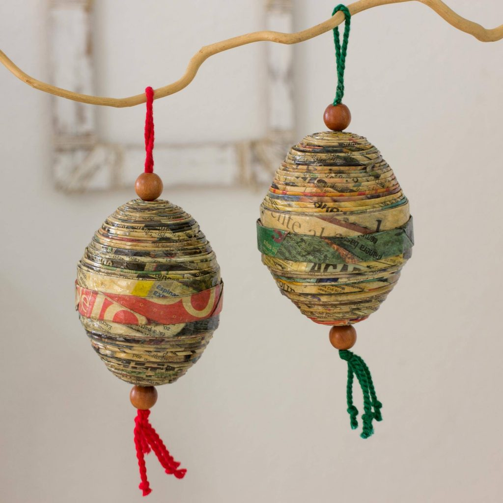 Festive Cheers Recycled paper ornaments (Set of 4) Christmas Décor