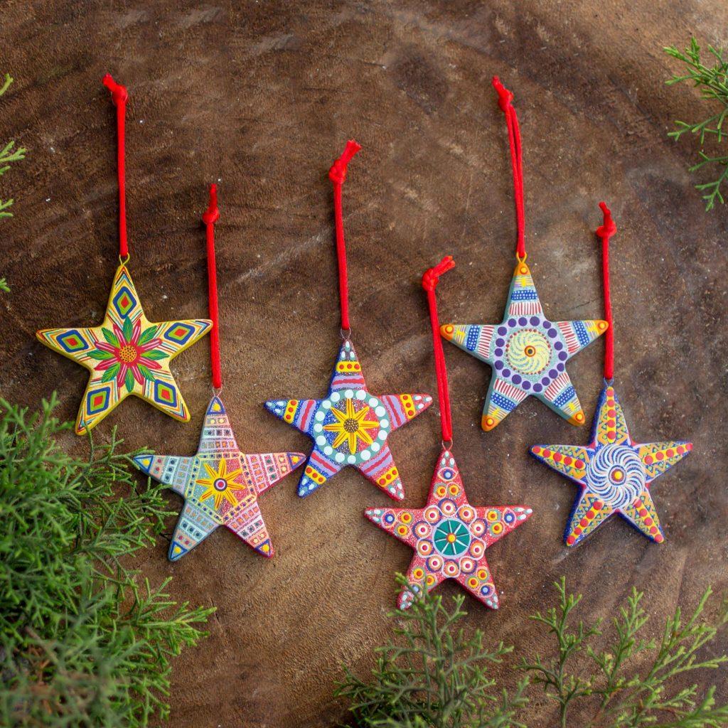 Christmas Décor Christmas Star Artisan Crafted Ceramic Christmas Ornaments (Set of 6)