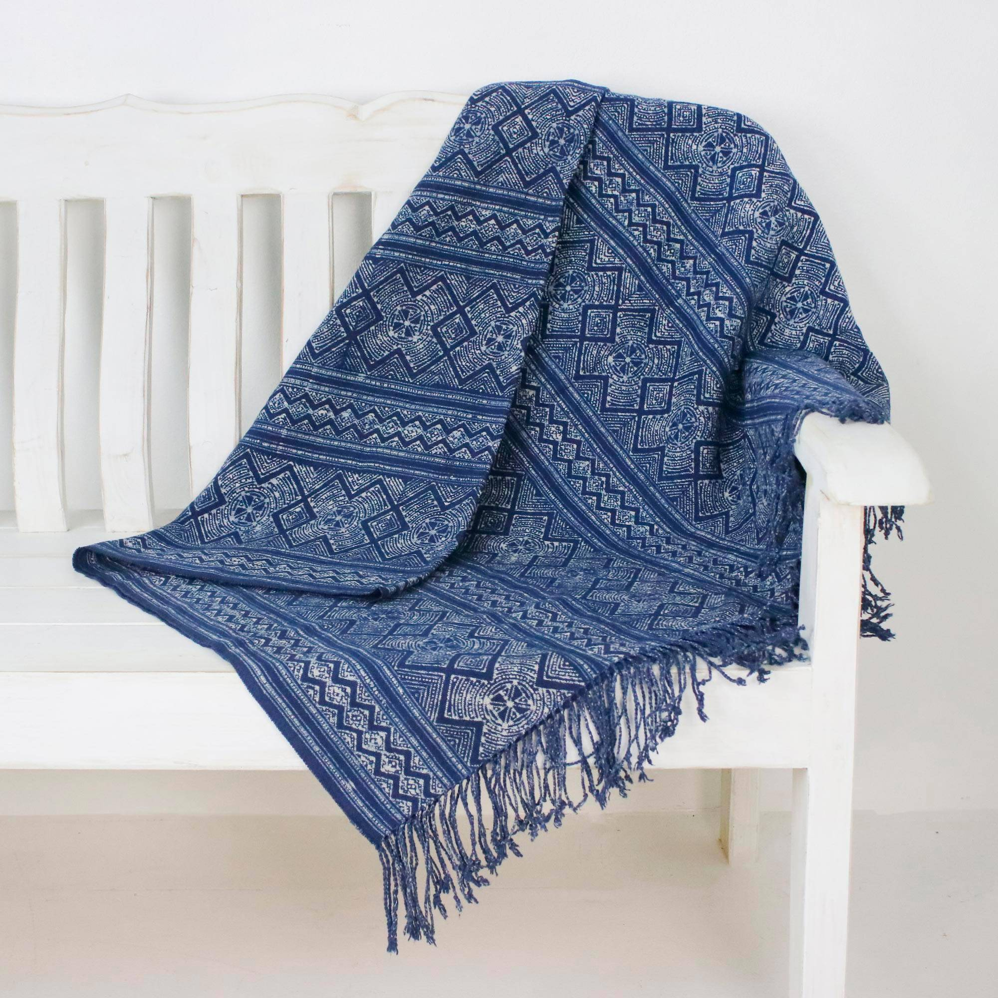 Batik Energy Geometric Batik Cotton Throw in Indigo