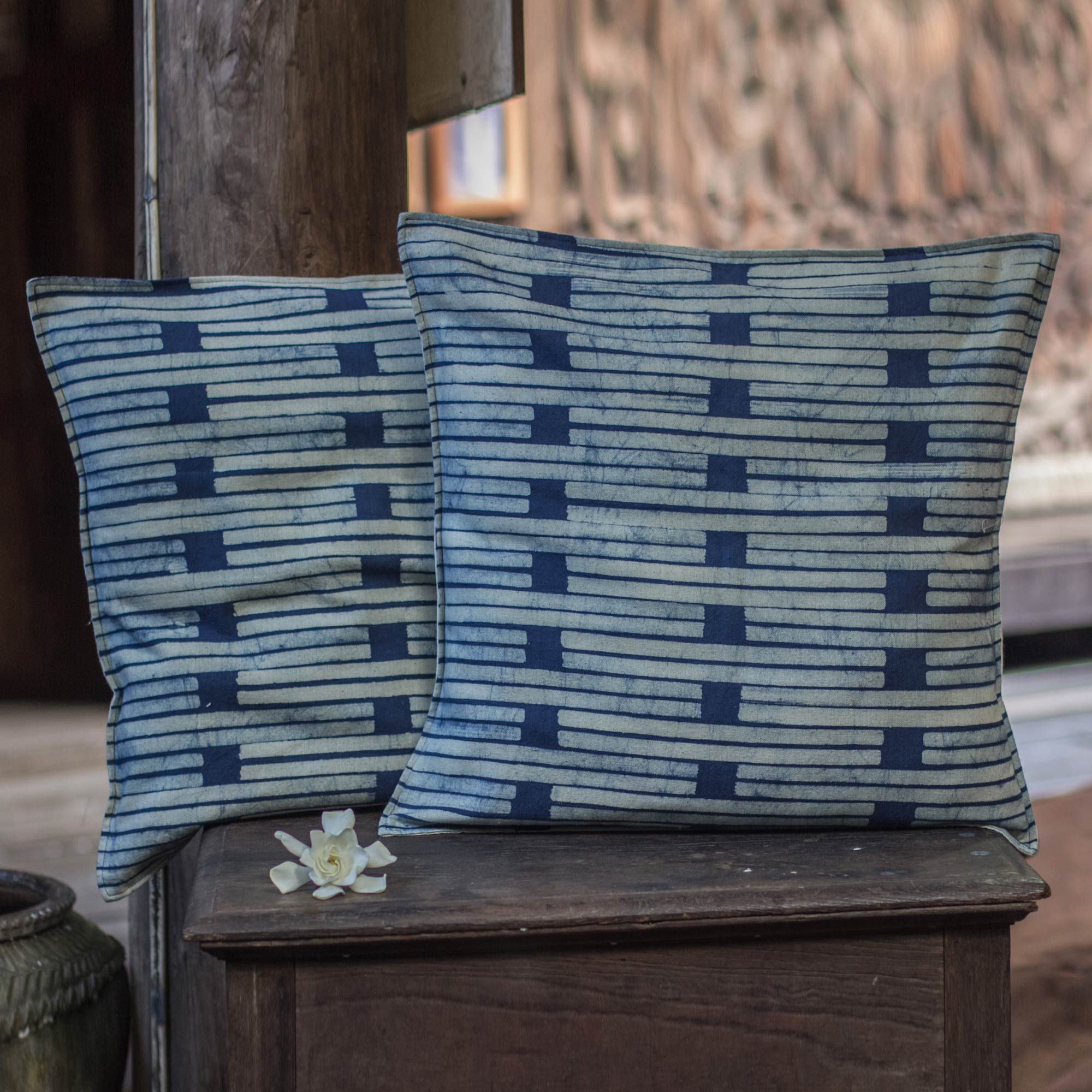 Hill Tribe Stripes Batik Cotton Cushion Covers