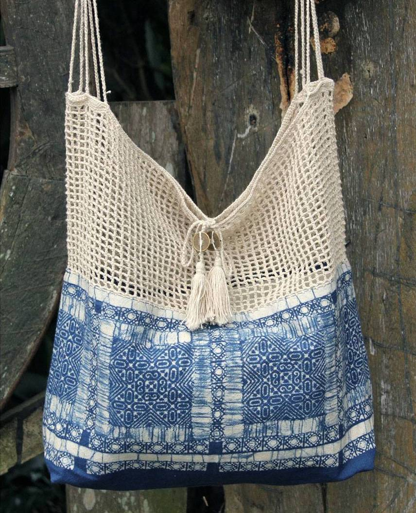 Hmong Indigo Handmade Batik Cotton and Hemp Shoulder Bag