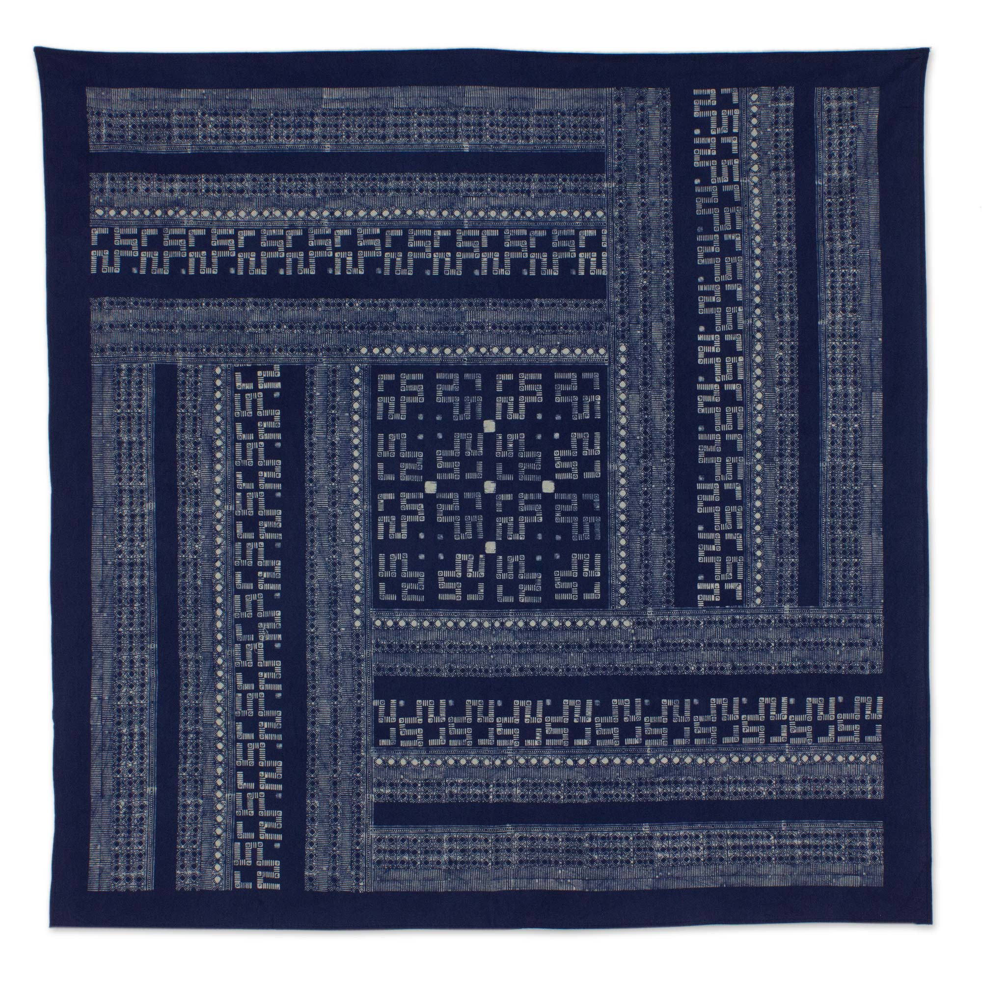 Hmong Lace Hill Tribe Artisan Crafted Cotton Batik Tablecloth (59x59)