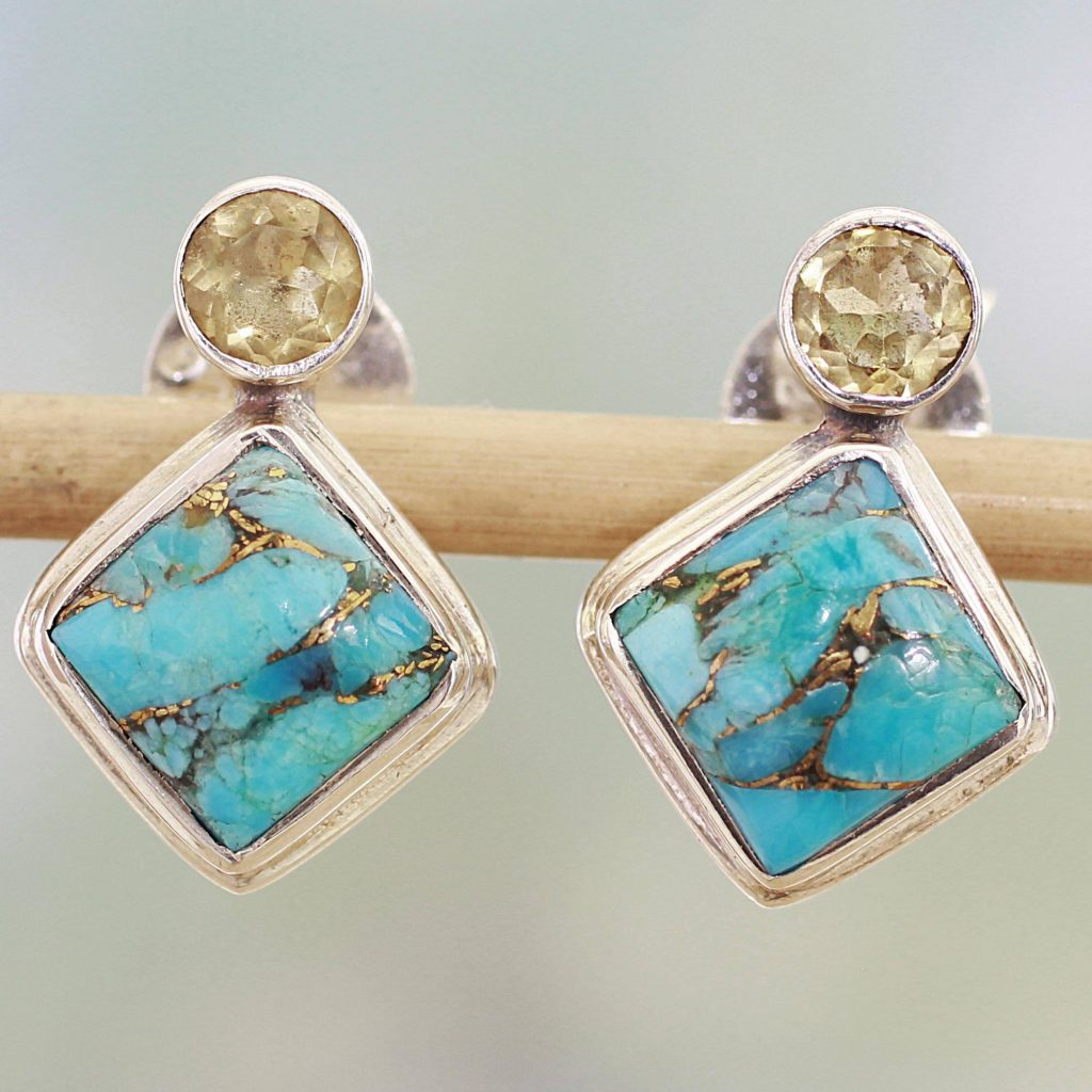 "Indian Citrine Earrings with Composite Blue Turquoise, ""Turquoise Sparkle"""