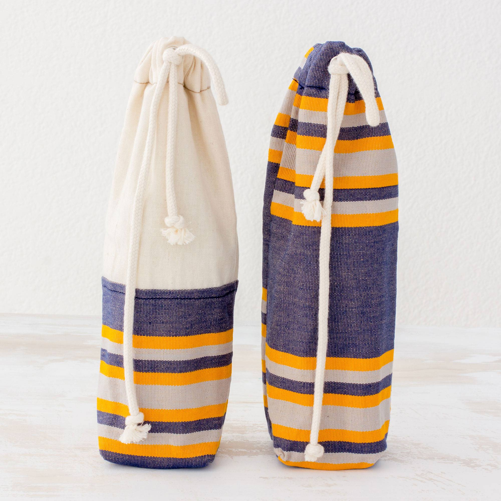 Pleasant Day Two Handwoven Cotton Wine Bags in Indigo