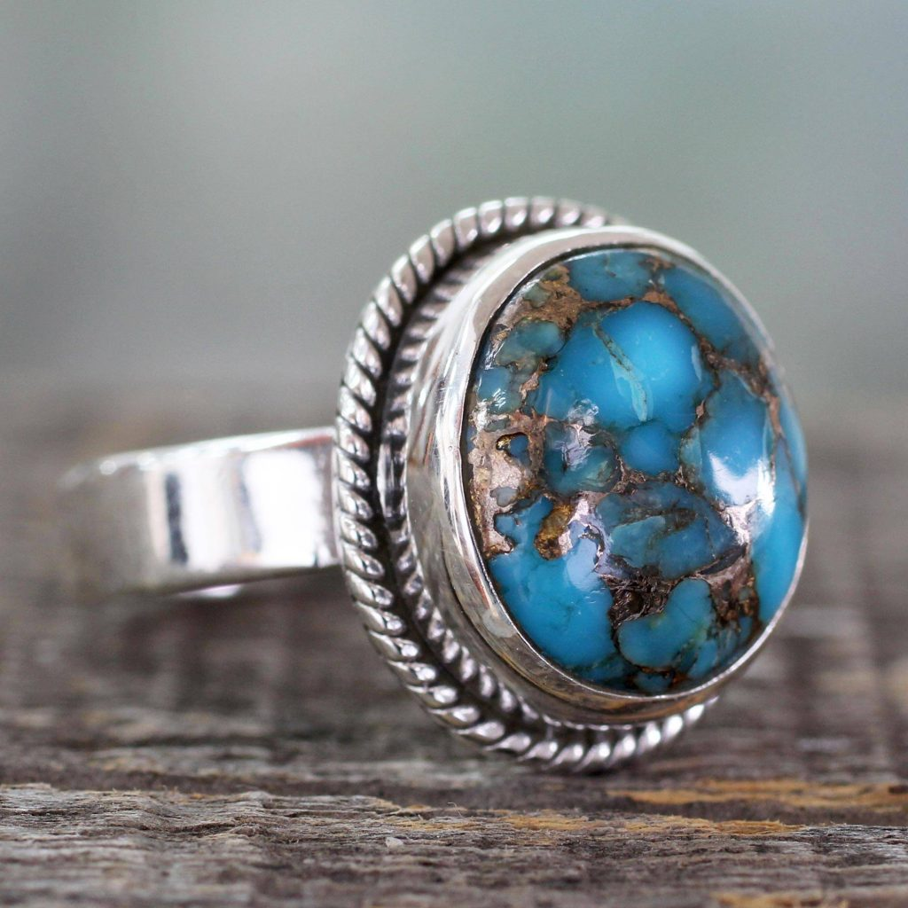 "Silver Silver and Blue Composite Turquoise Ring from India, ""Blue Sky in Jaipur"""