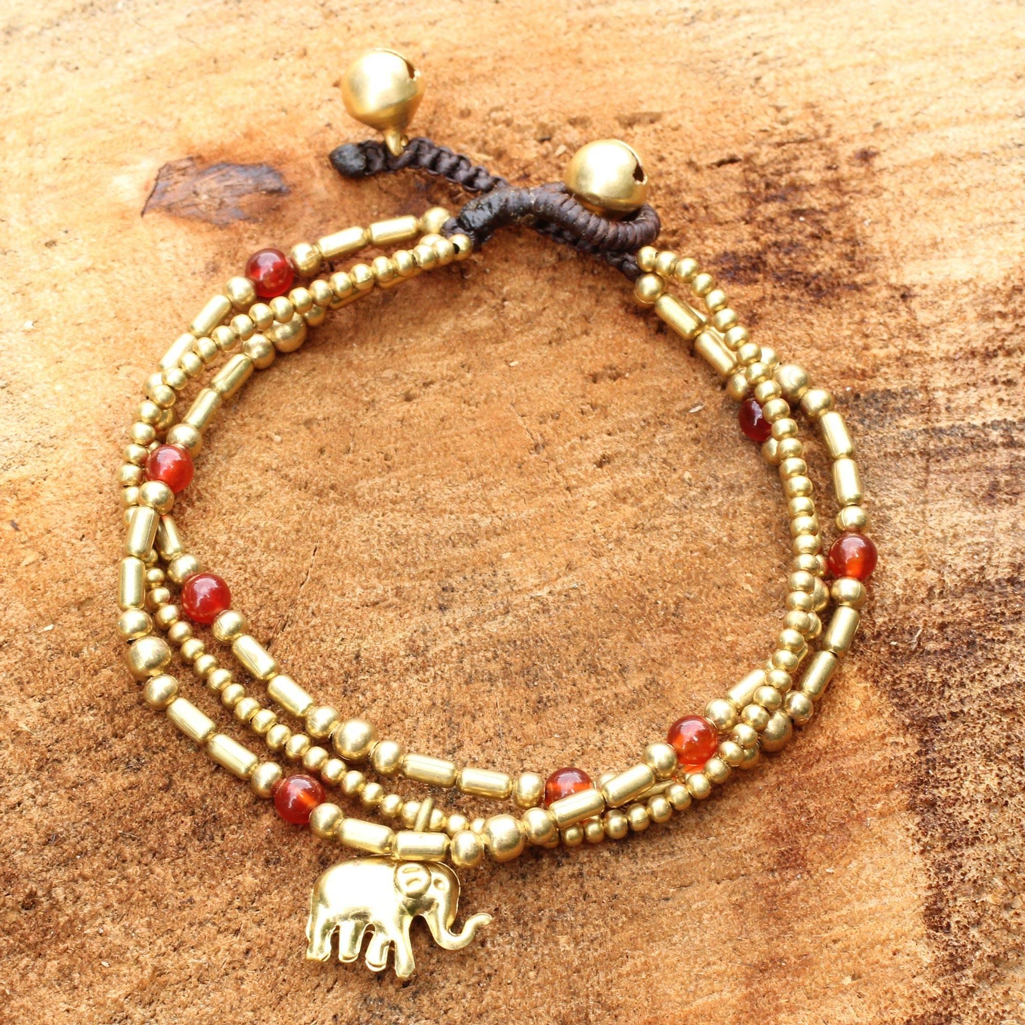 Christmas Décor Thai Elephant Charm Brass Bracelet Carnelian Gems Beaded Jewelry