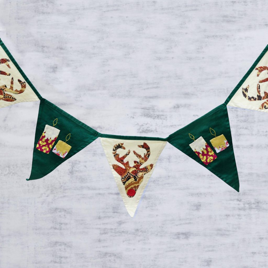 Green and Beige Cotton Christmas Bunting from India Christmas Décor