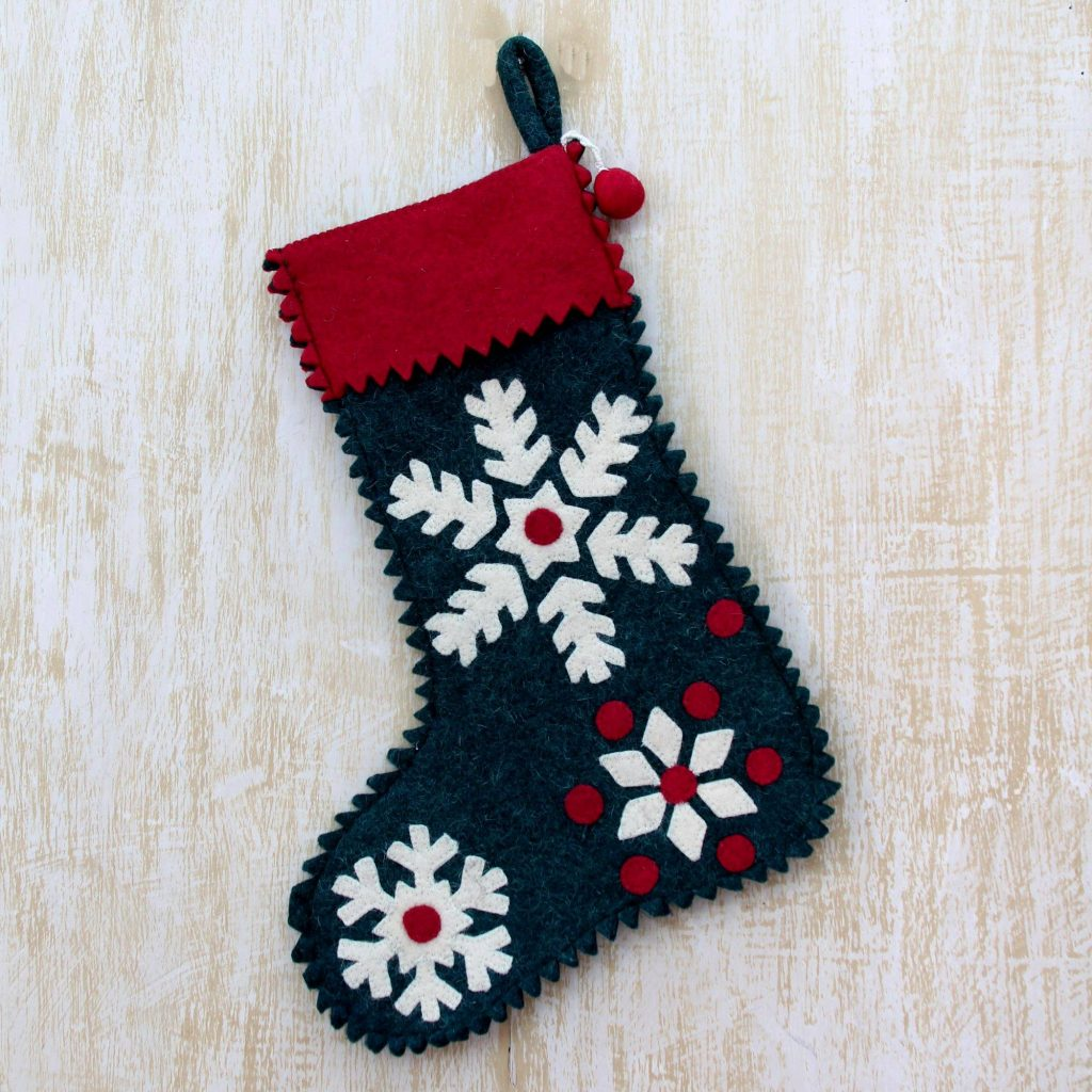 Snowflake Motif Holiday Stocking in Green Wool Felt Christmas Décor