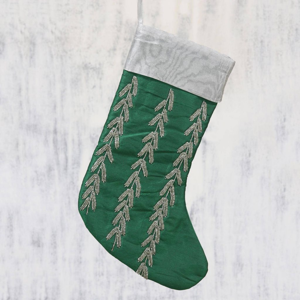 Handcrafted Silvery Beaded Green Christmas Stocking Christmas Décor