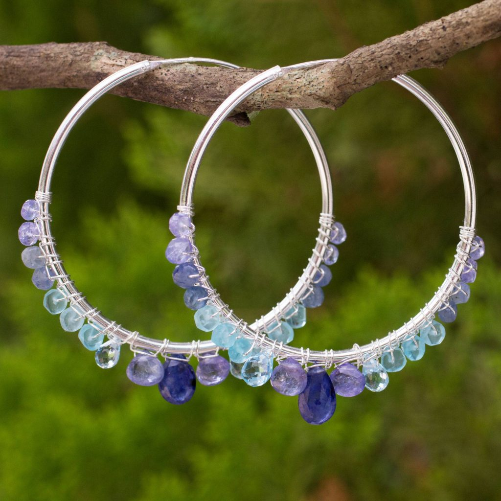 Following Sea Continuous Hoop Earrings in Silver with Blue Gemstones
