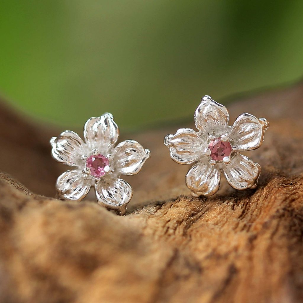 Winter Blooms Sterling Silver Pink Tourmaline Floral Stud Earrings Practical and Versatile