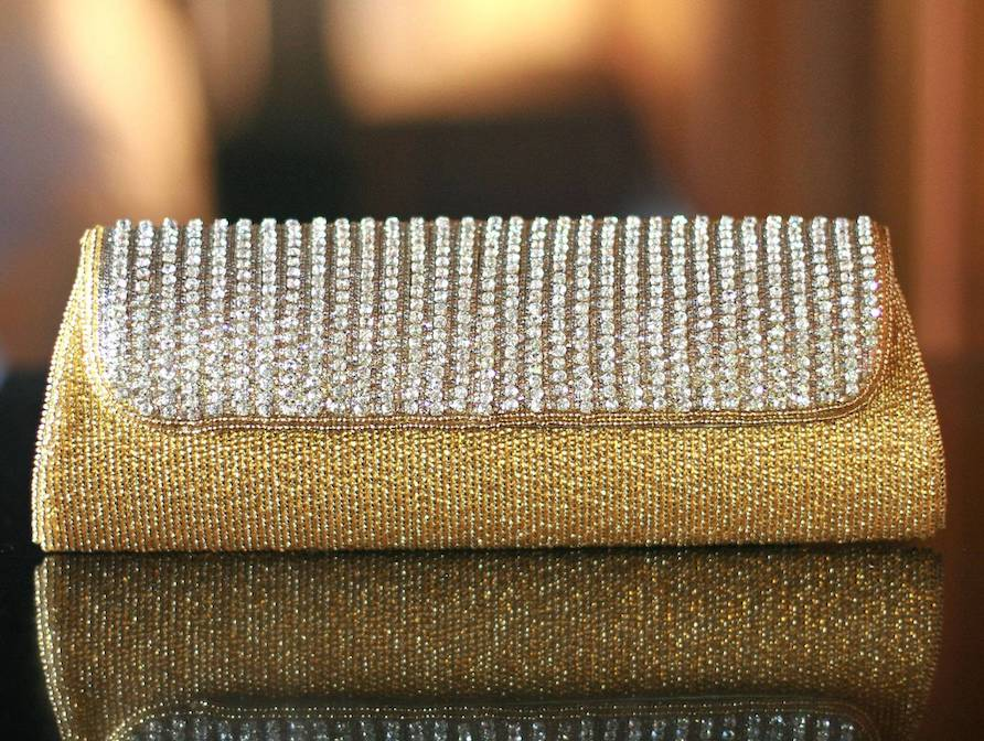 'Golden Radiance' Beaded Clutch Handbag Valentine's Day Gifts