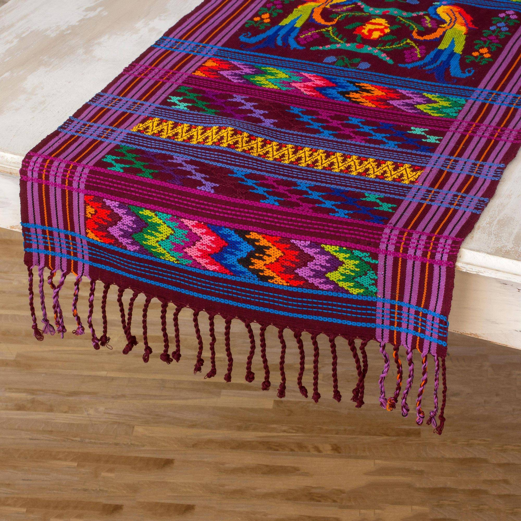 Colorful Quetzal Central American Handwoven Cotton Table Runner