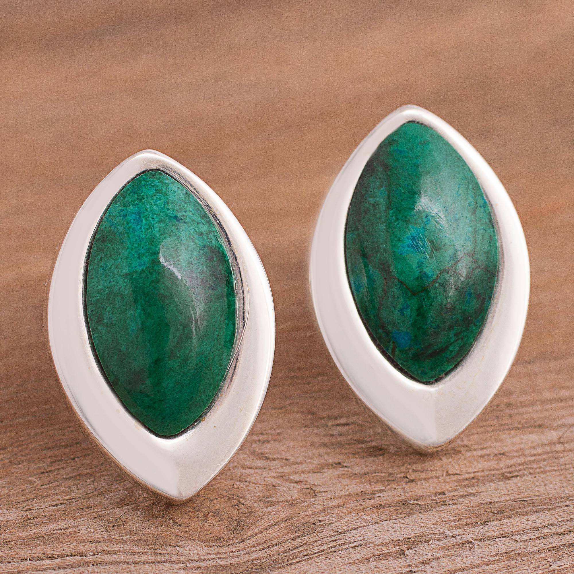 Dazzling Diva Sterling Silver and Chrysocolla Button Earrings
