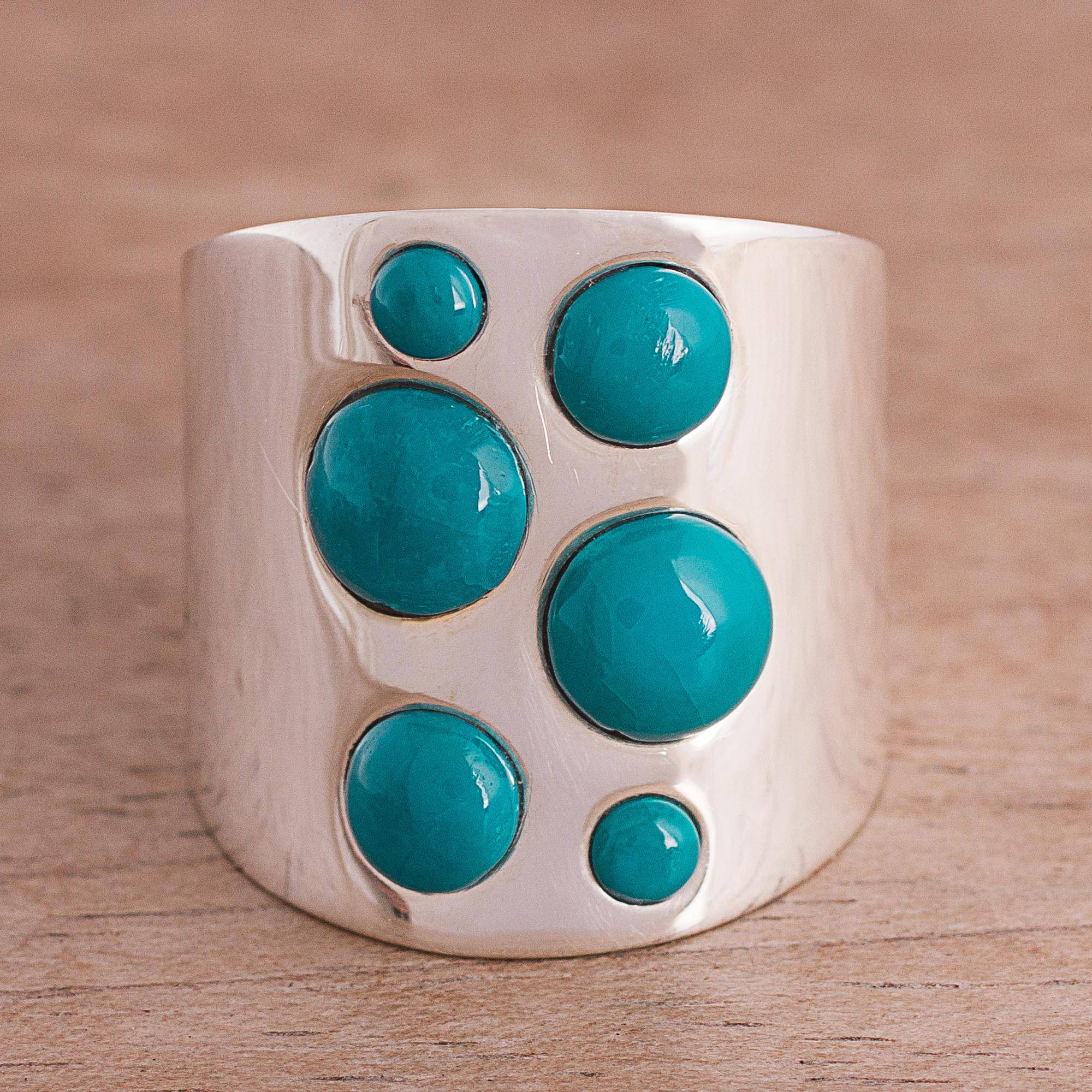 Dramatic Intrigue Chrysocolla and Sterling Silver Cocktail Ring from Peru
