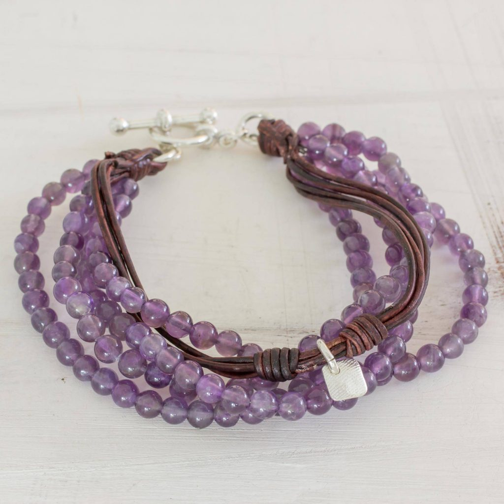 Feminine Sweetness Amethyst Leather and Fine Silver Beaded Wristband Bracelet