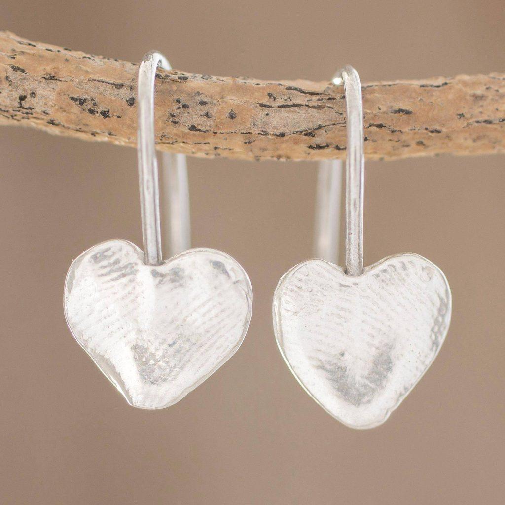 Fingerprint Hearts Heart-Shaped Fine Silver Drop Earrings