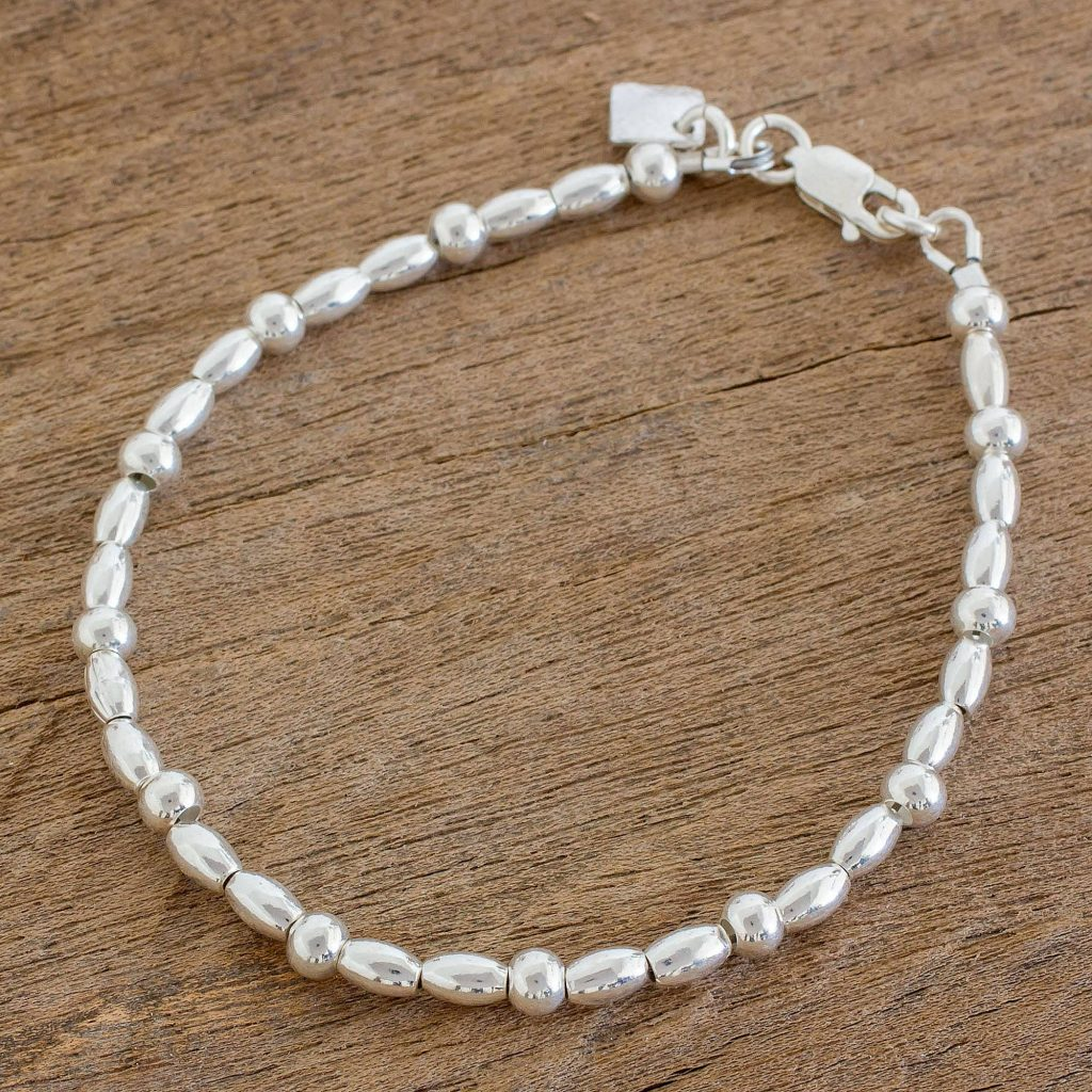 Gleaming Combination High-Polish Sterling Silver Beaded Bracelet
