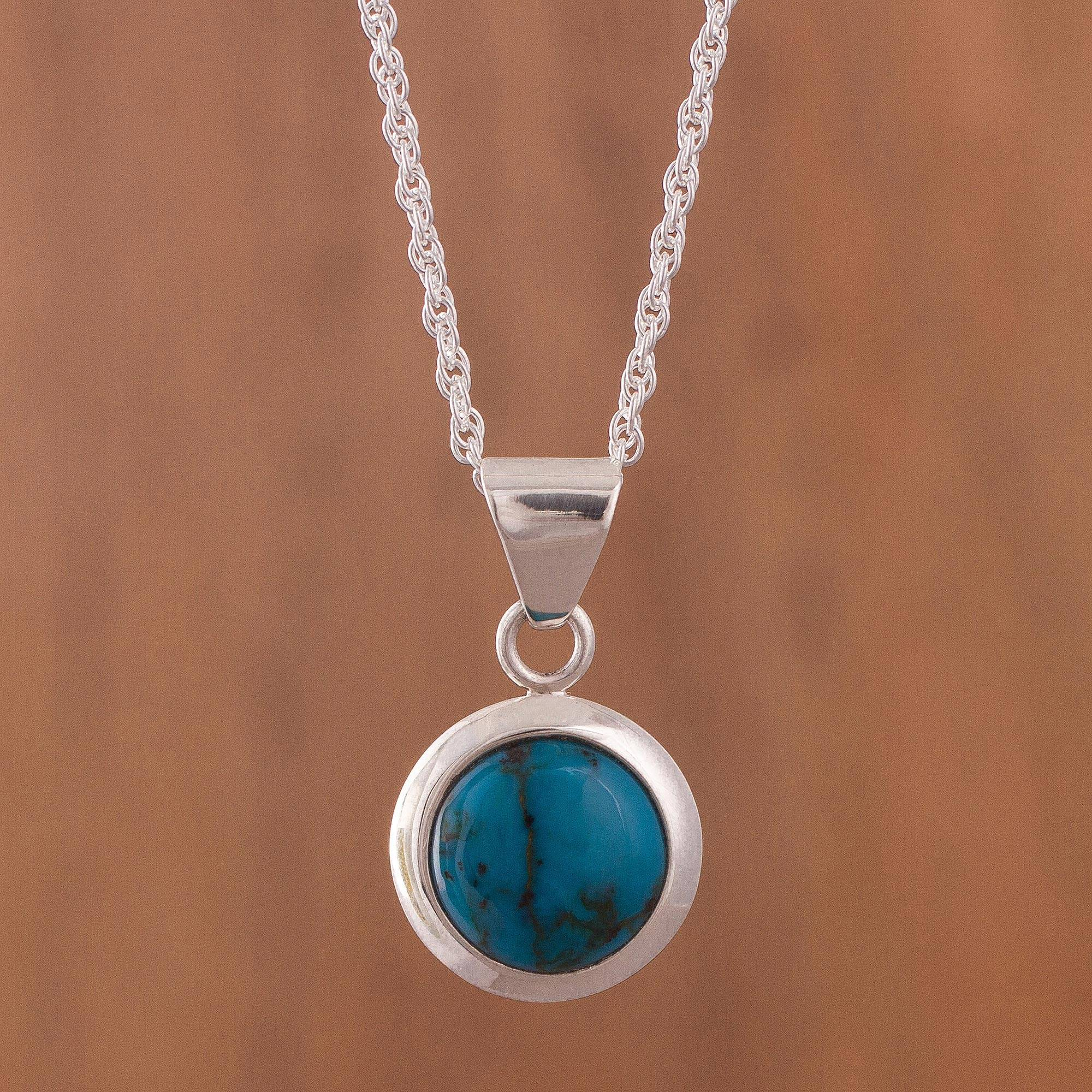 Ocean Portal Round Chrysocolla and Sterling Silver Pendant Necklace