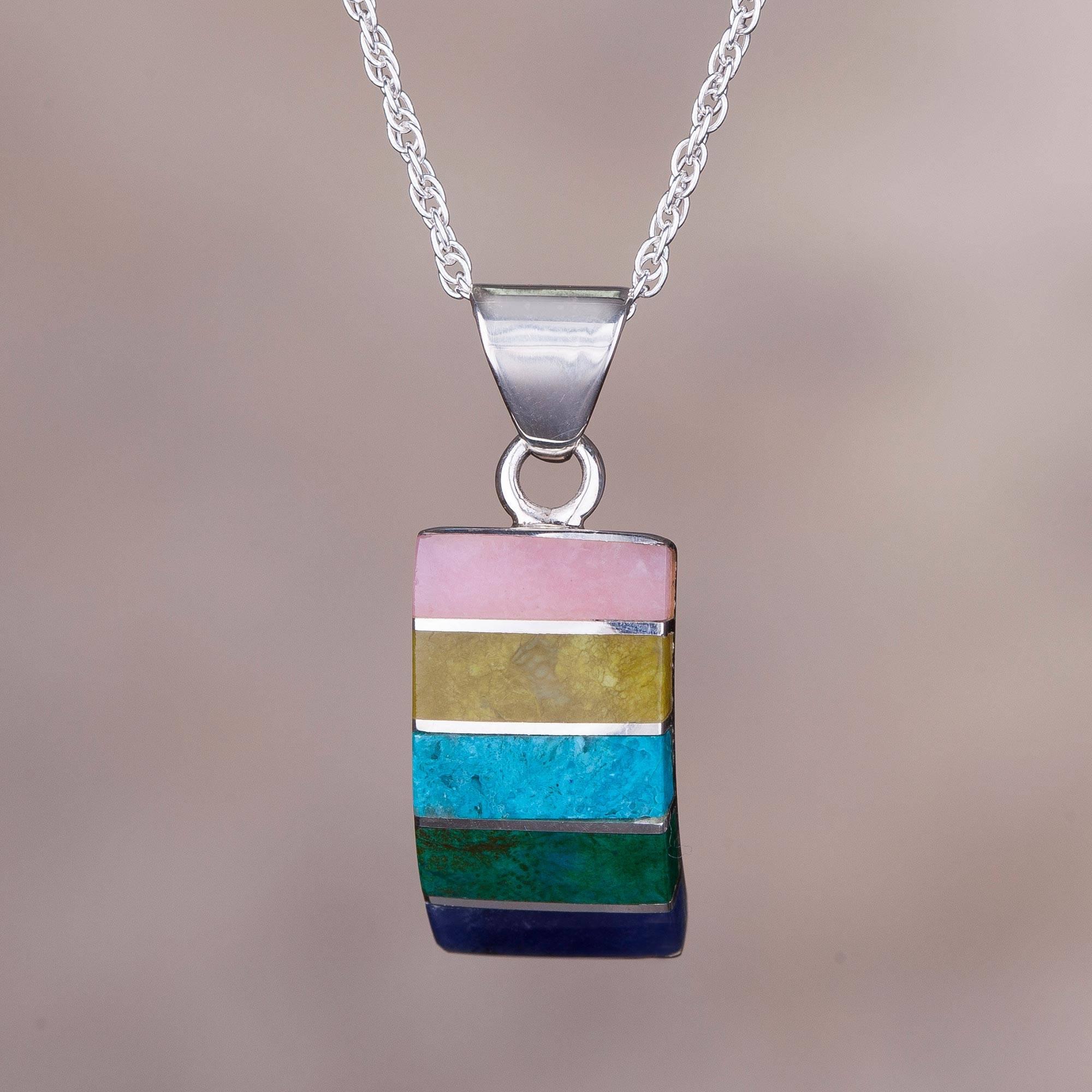 Oceanic Colors Colorful Multi-Gemstone Pendant Necklace