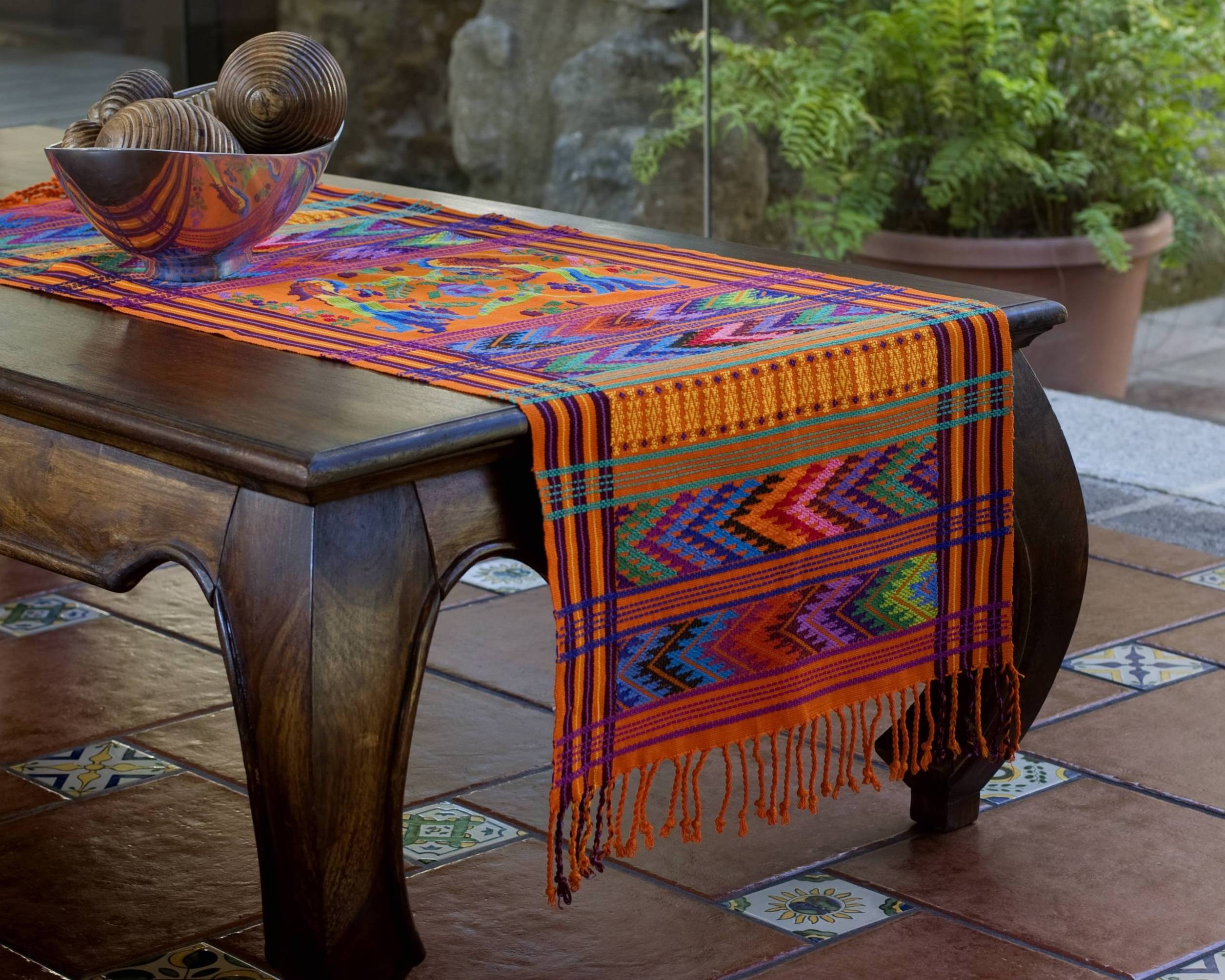 Sunset Quetzal Hand Woven Animal Themed Cotton Table Runner