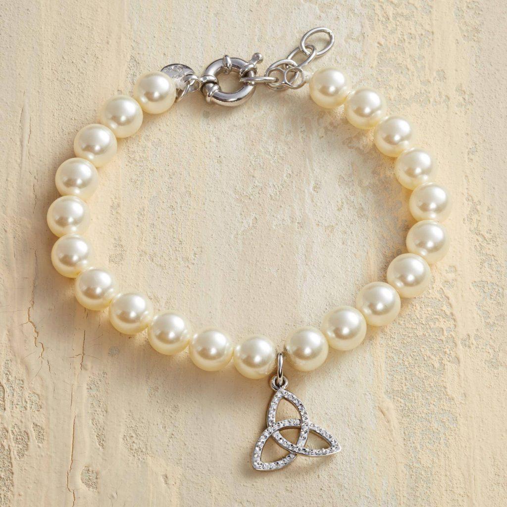 'Eternal Trinity' Trinity Knot Pearl Bracelet with Swarovski Crystals Valentine's Day Gifts