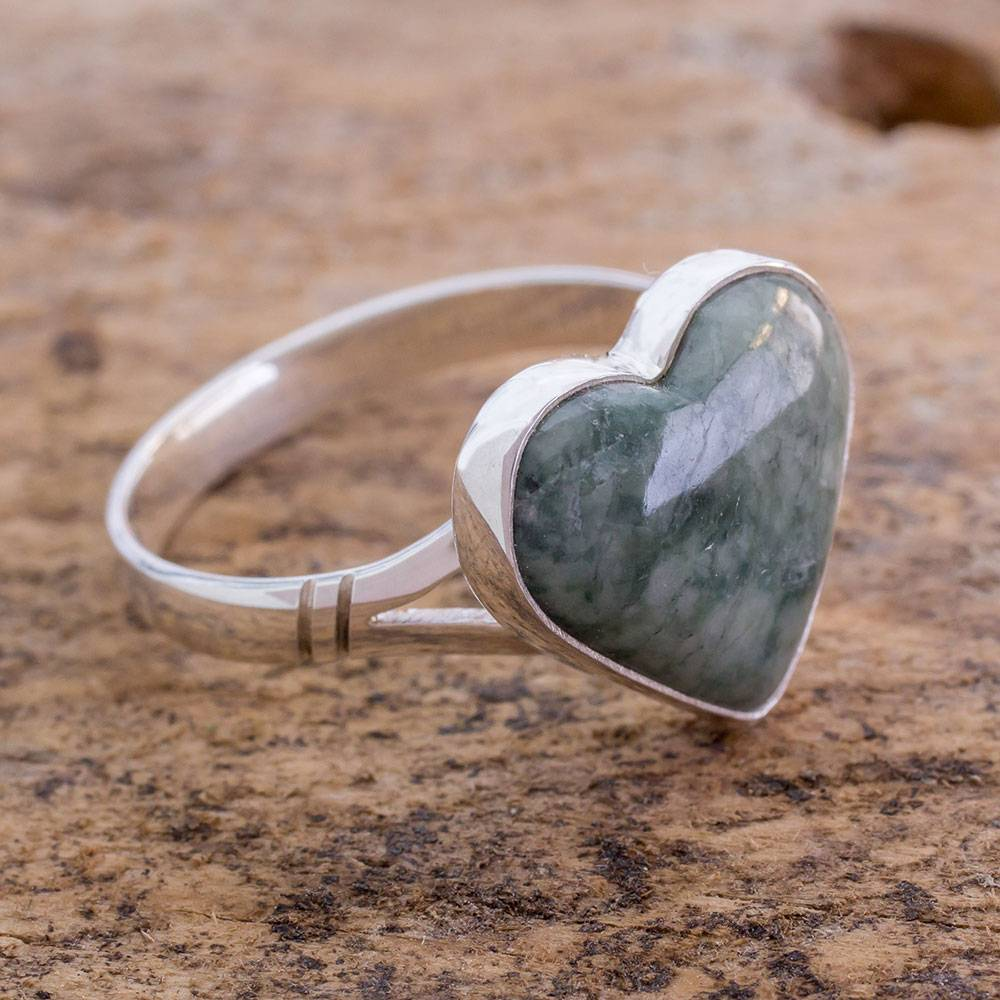 'Love Immemorial' Unique Heart Shaped Sterling Silver Jade Cocktail Ring Valentine's Day Gifts Valentine's Day Gifts