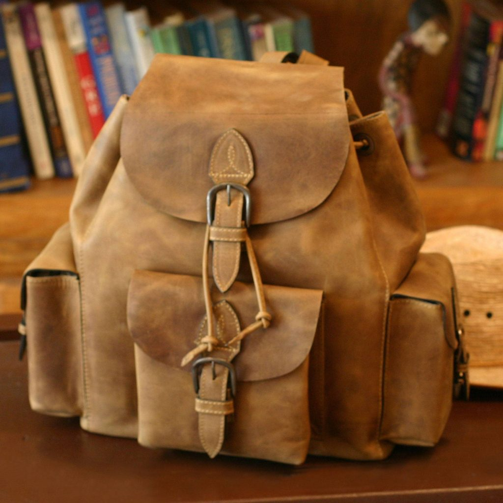 'Weathered in Honey Brown' Hand Crafted Leather Backpack from Mexico Valentine's Day Gifts