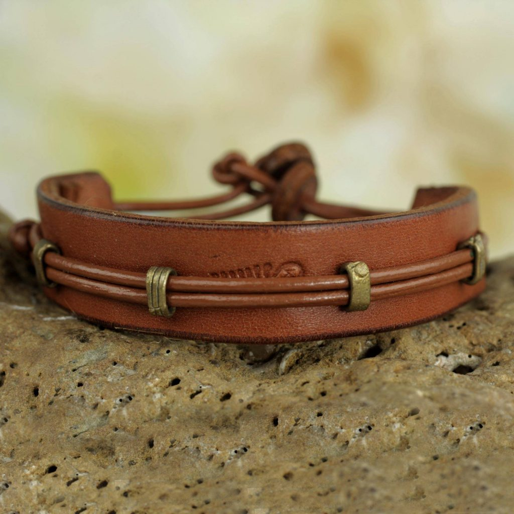 'Stand Alone in Tan' Men's Hand Crafted Leather Wristband Bracelet from Africa Valentine's Day Gifts