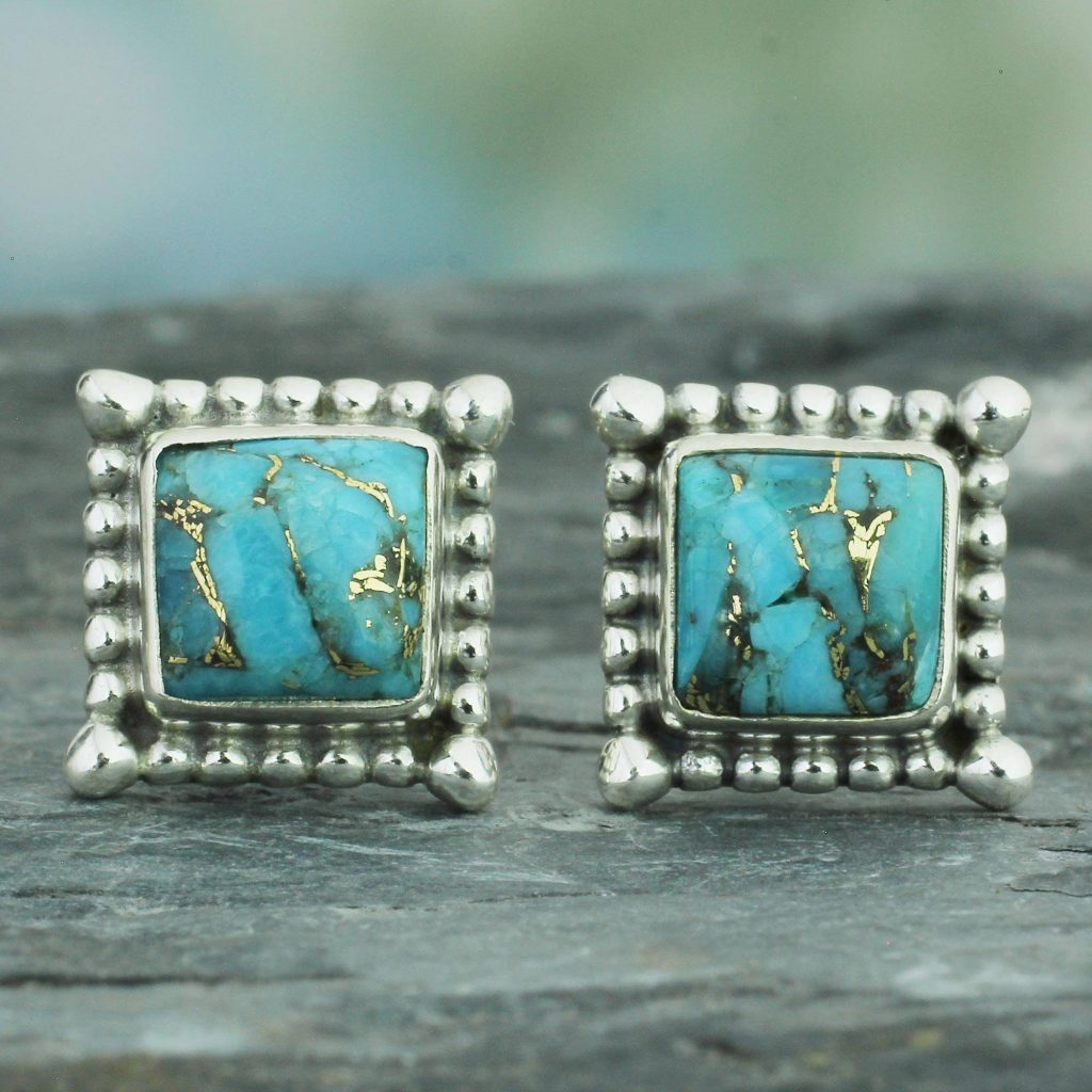 Magical Blue Composite Turquoise Stud Earrings Handmade in India Practical