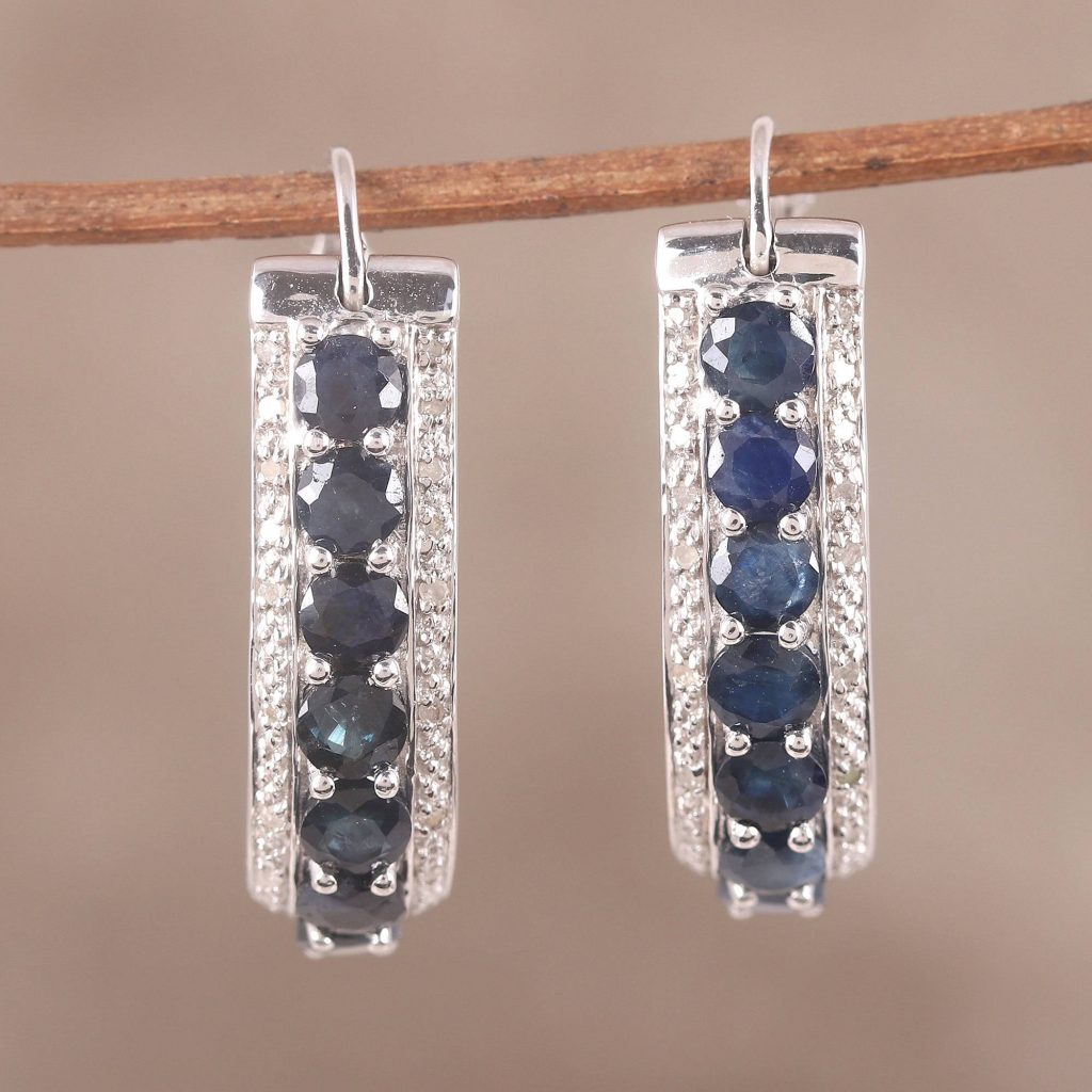 Jaipur Majesty Sapphire and White Topaz Sterling Silver Hoop Earrings