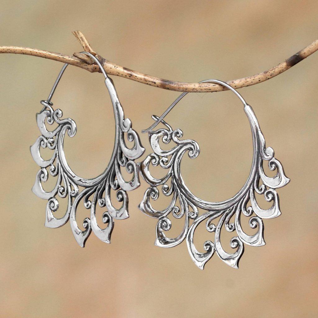 Curling Tendrils Curling Sterling Silver Hoop Earrings from Bali